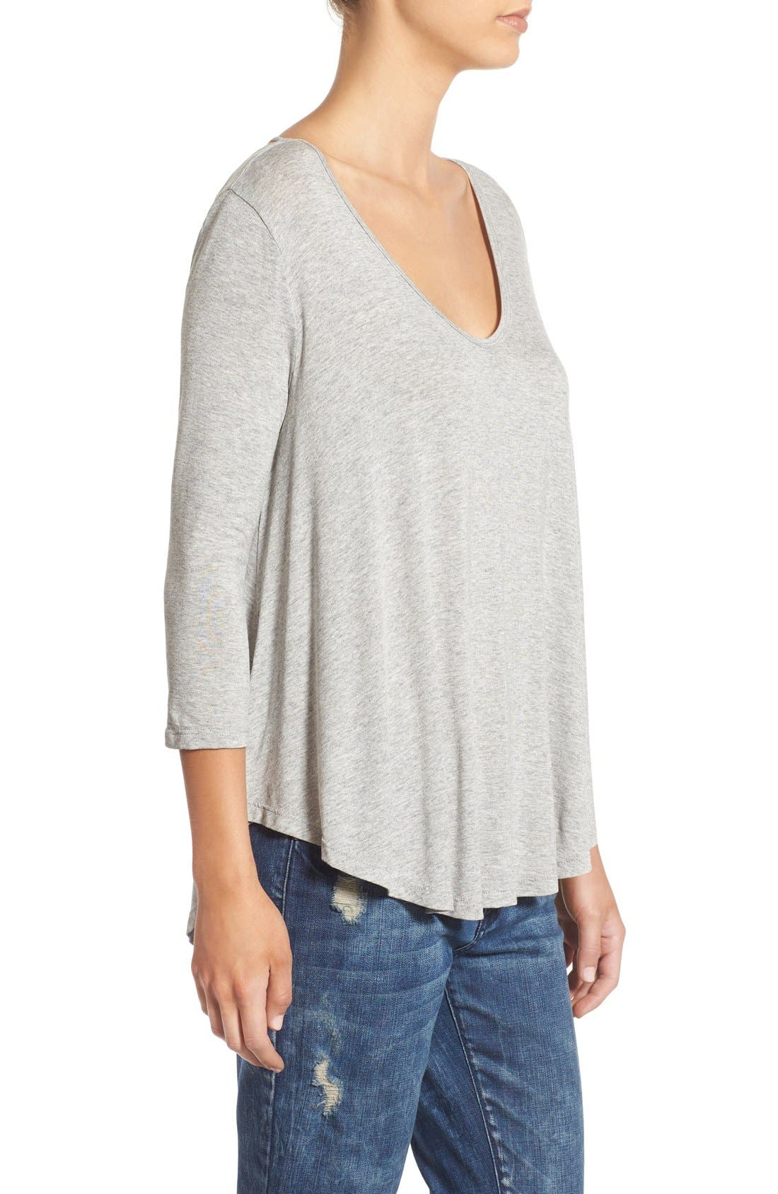 Lace-Up Back Tee,                             Alternate thumbnail 3, color,                             Heather Grey