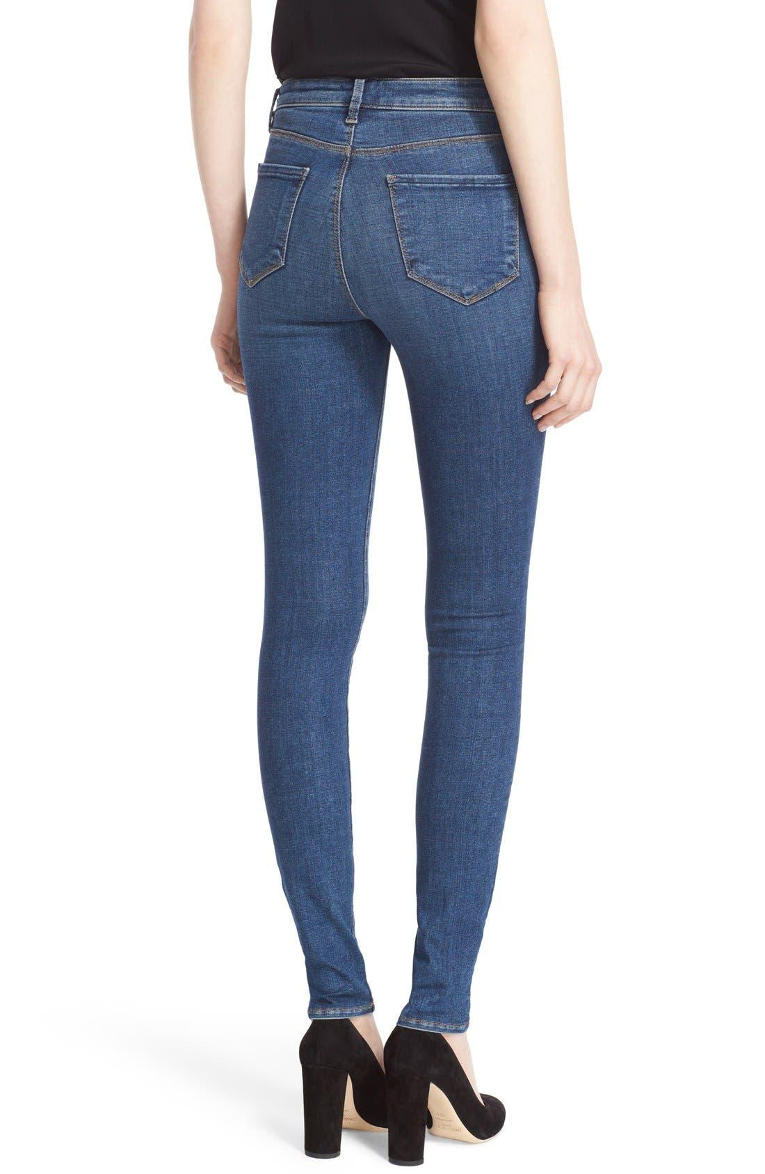 '30' High Rise Skinny Jeans,                             Alternate thumbnail 2, color,                             Dark Vintage