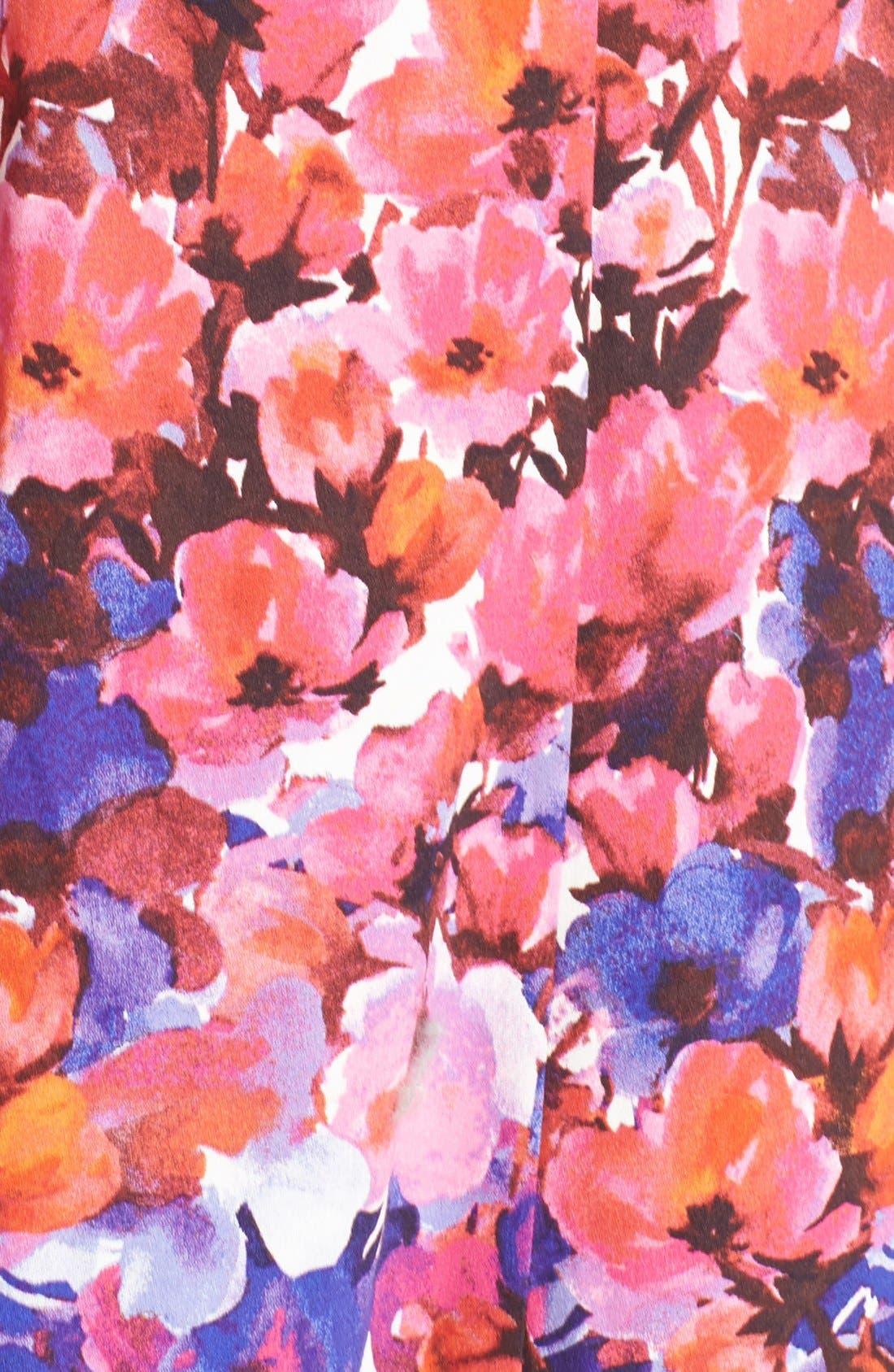 Alternate Image 6  - Maggy London Floral Print Sateen Fit & Flare Dress (Regular & Petite)