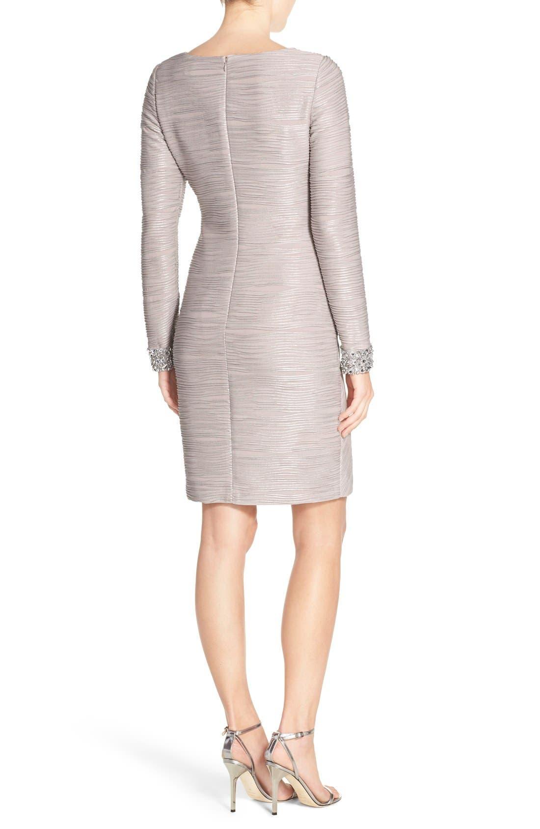 Embellished Sleeve Knit Sheath Dress,                             Alternate thumbnail 2, color,                             Taupe