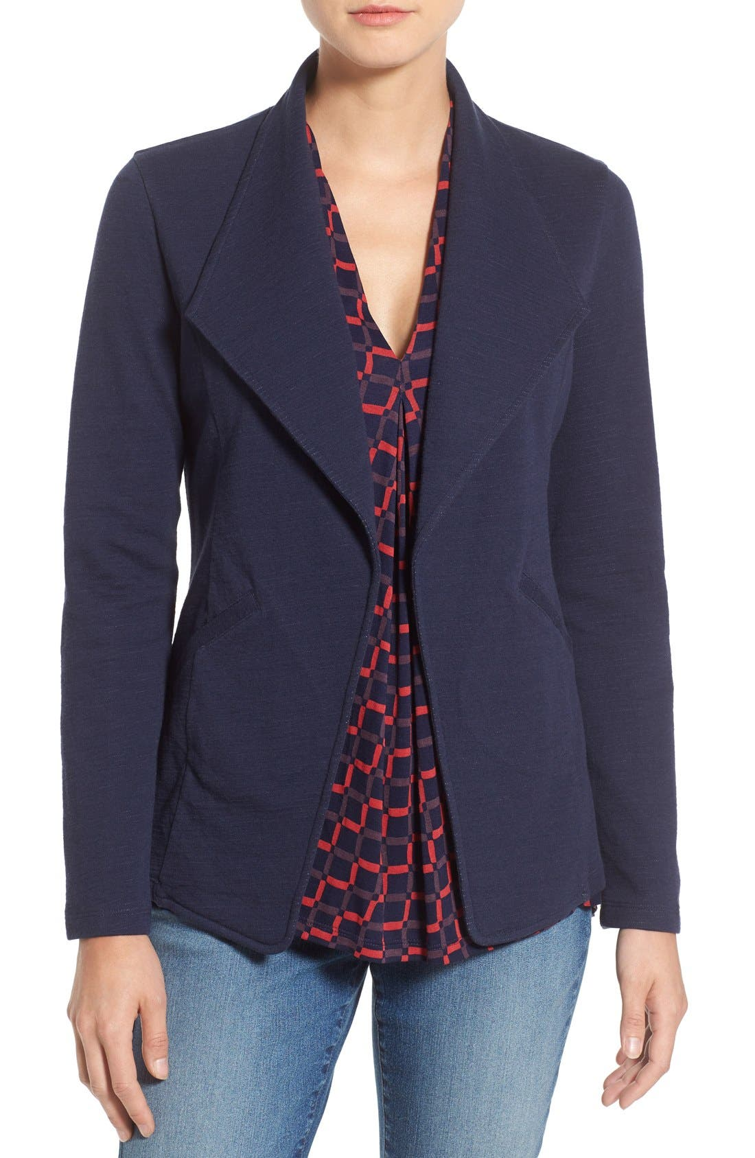 Cotton Knit Open Front Blazer,                             Main thumbnail 1, color,                             Navy Pattern