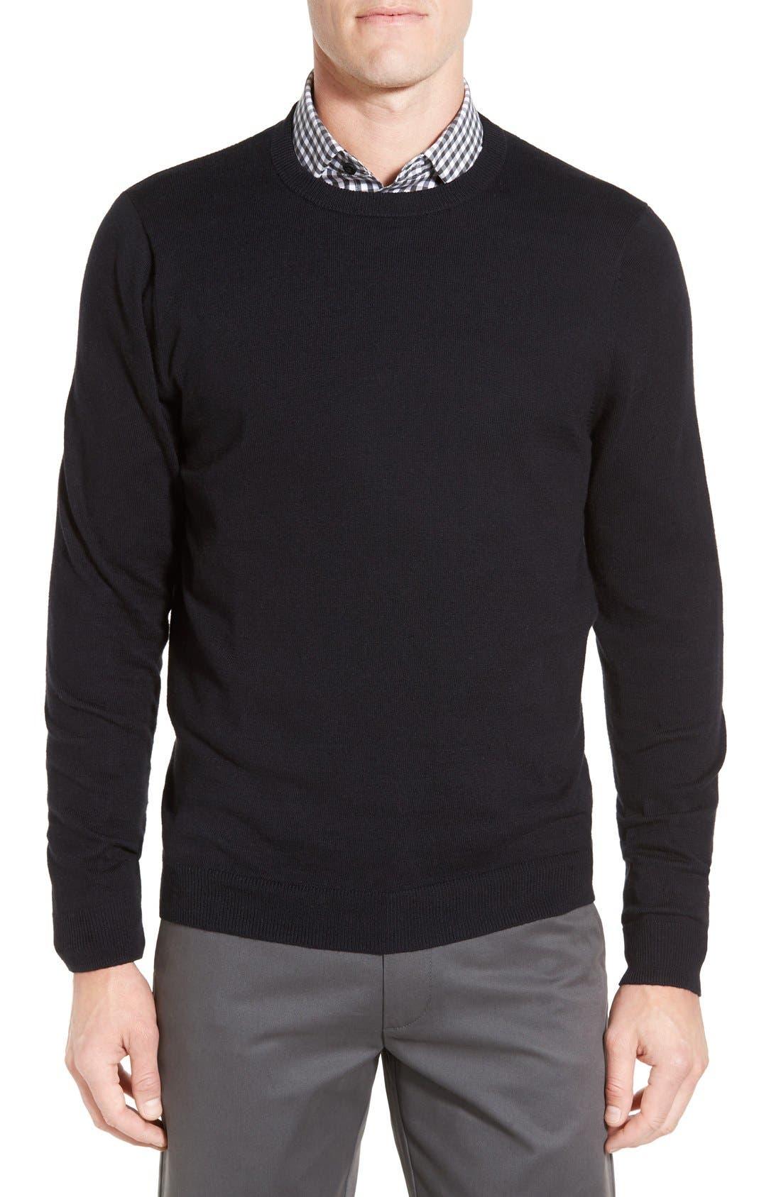Cotton & Cashmere Crewneck Sweater,                         Main,                         color, Black Caviar