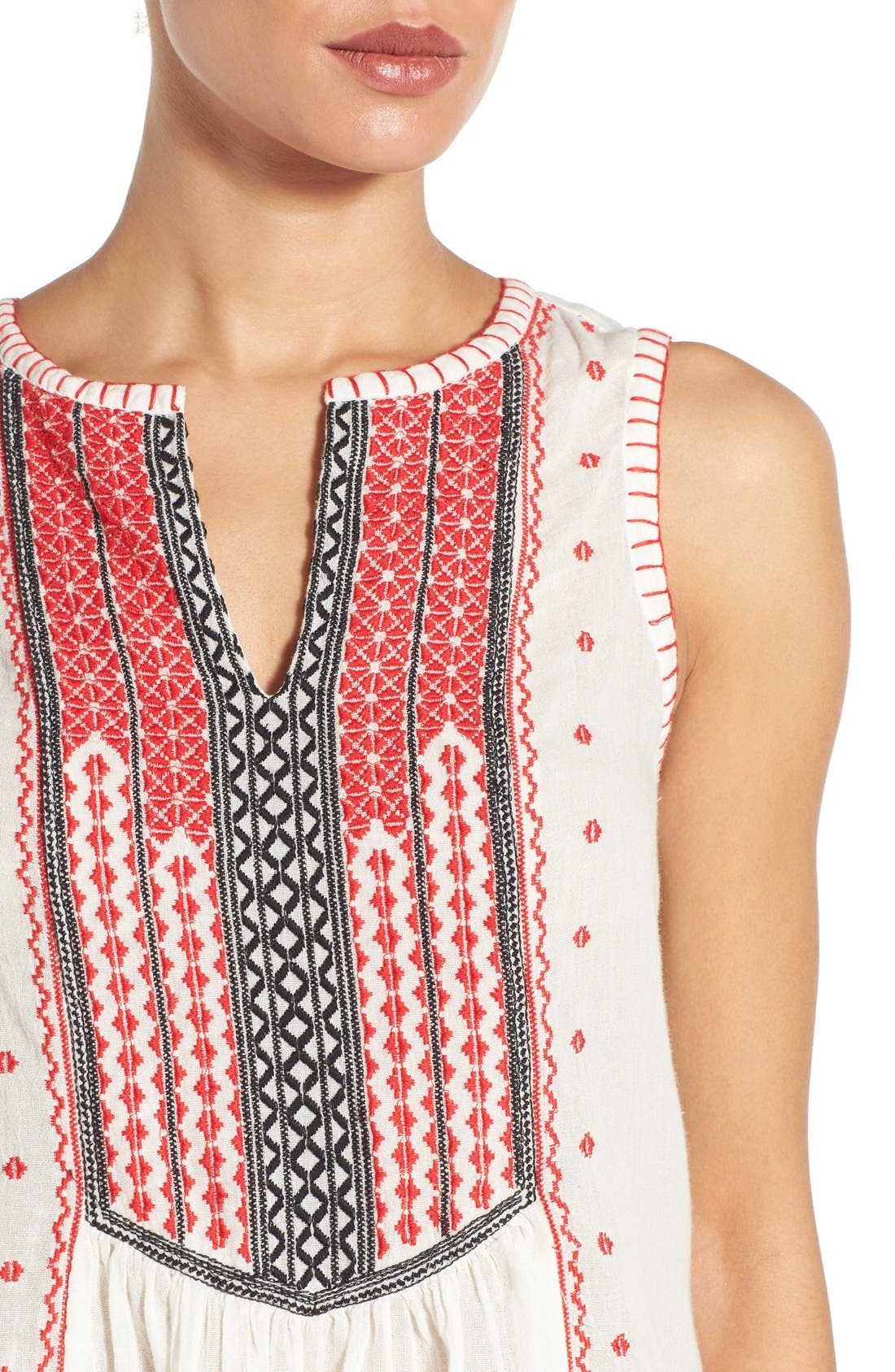 Alternate Image 4  - Lucky Brand Embroidered Bib Cotton Tank