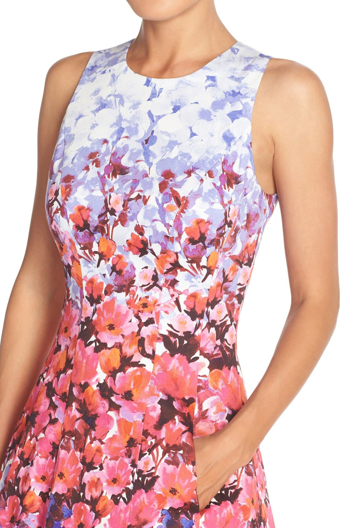 Alternate Image 5  - Maggy London Floral Print Sateen Fit & Flare Dress (Regular & Petite)