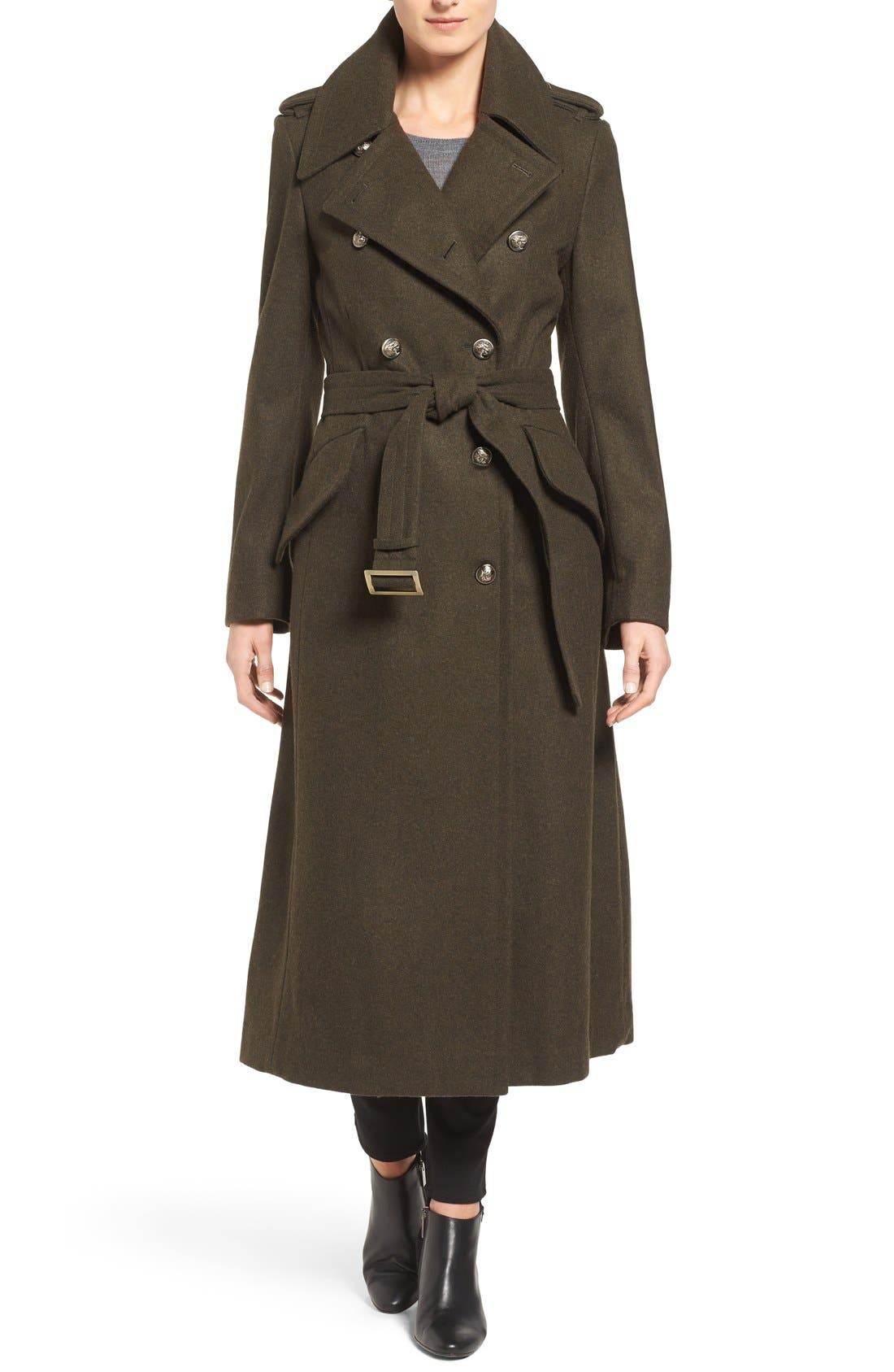 Double Breasted Trench Coat,                             Main thumbnail 1, color,                             Olive