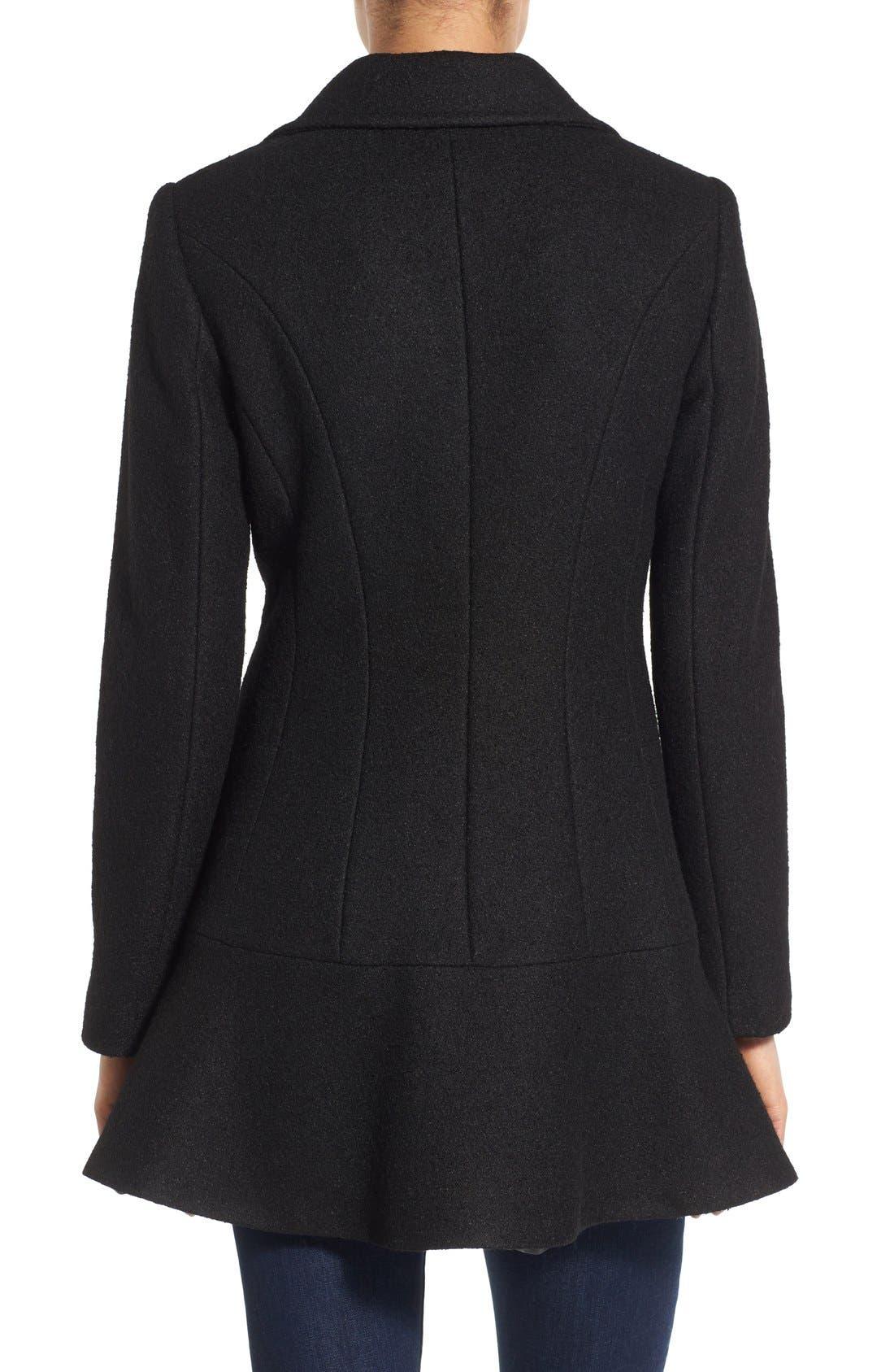 Notch Lapel Peplum Coat,                             Alternate thumbnail 2, color,                             Black
