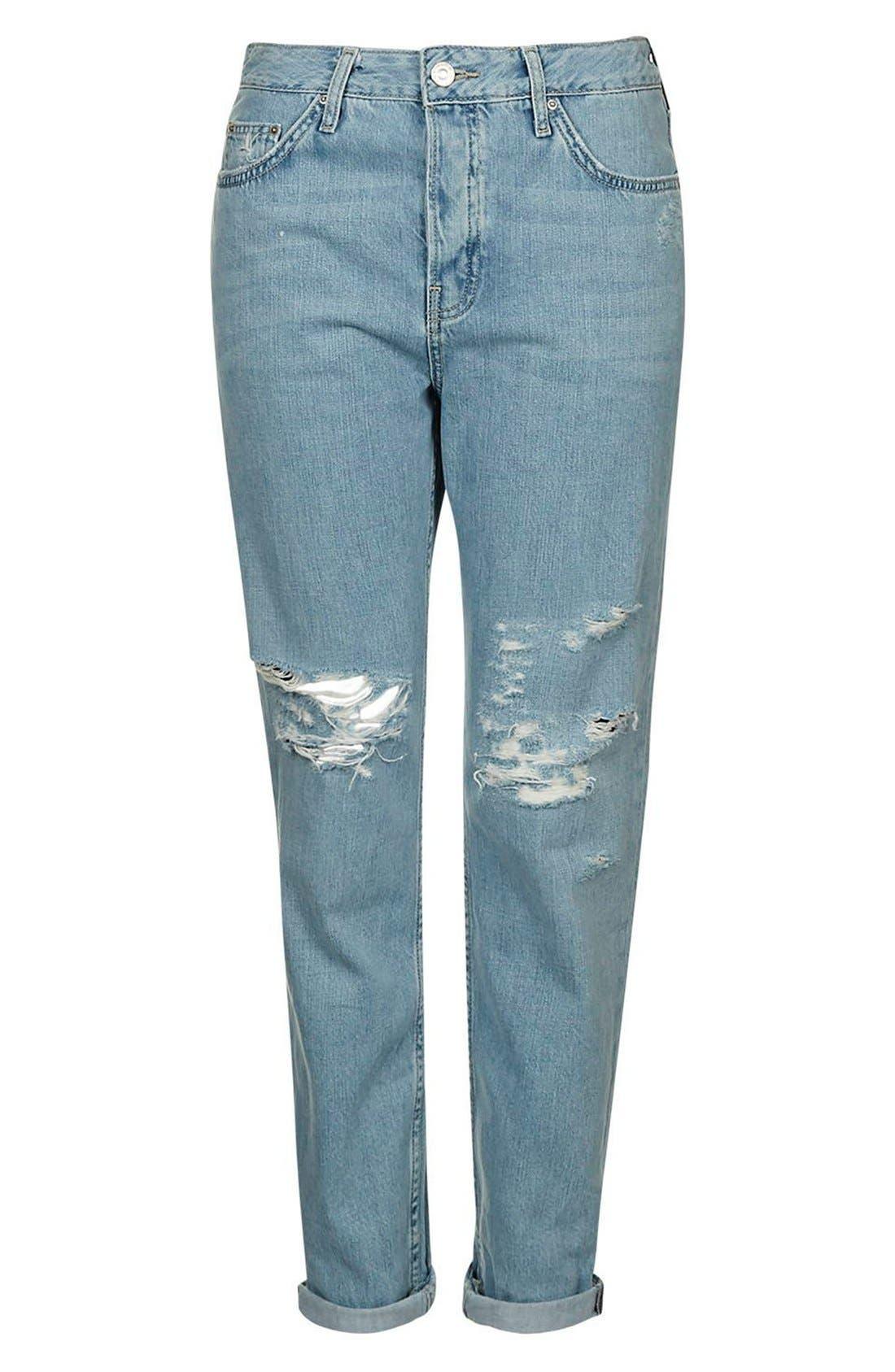 Alternate Image 4  - Topshop 'Hayden' Bleach Ripped Boyfriend Jeans
