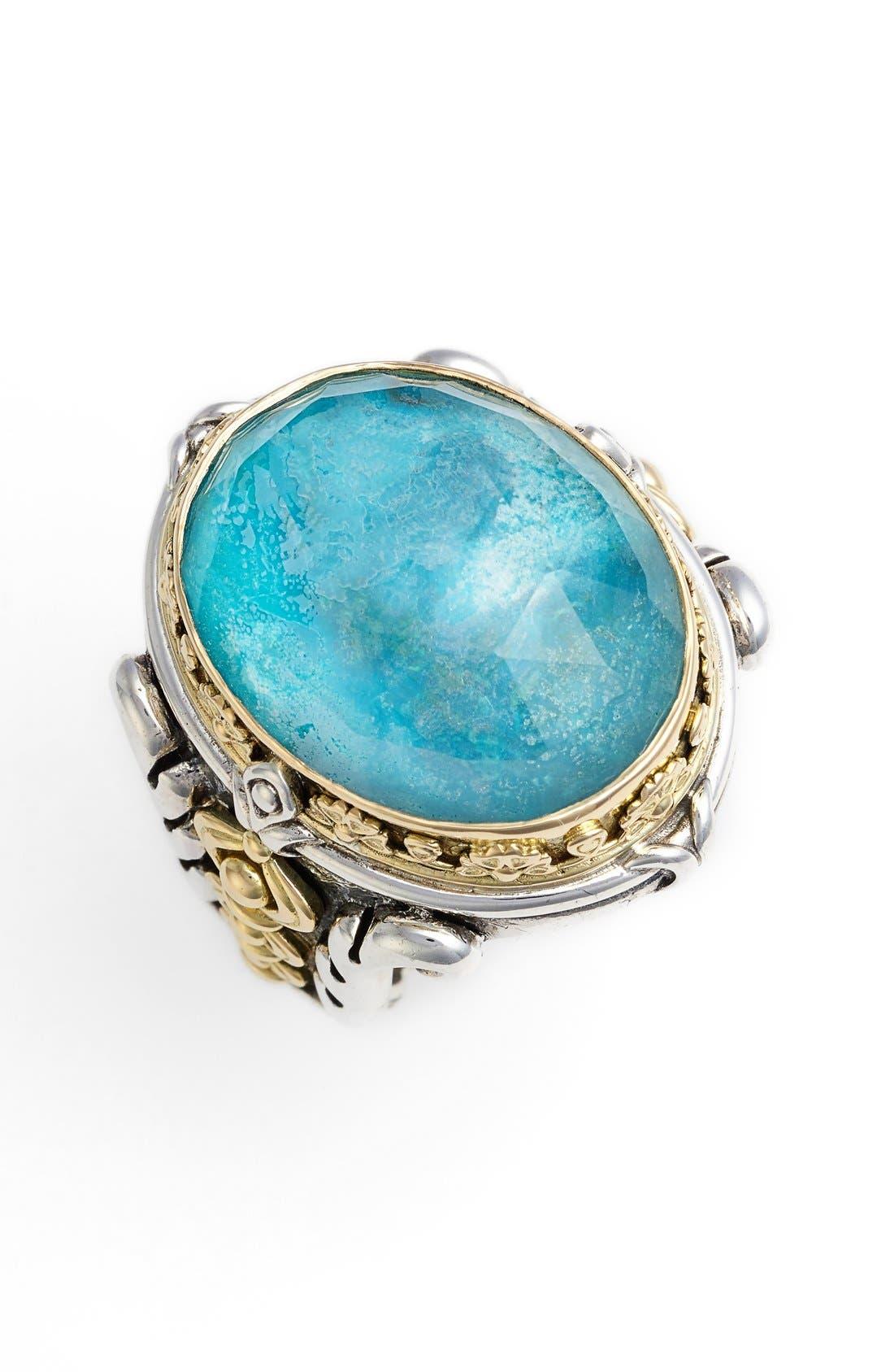 'Iliada' Large Oval Semiprecious Stone Ring,                             Main thumbnail 1, color,                             Blue/ Green