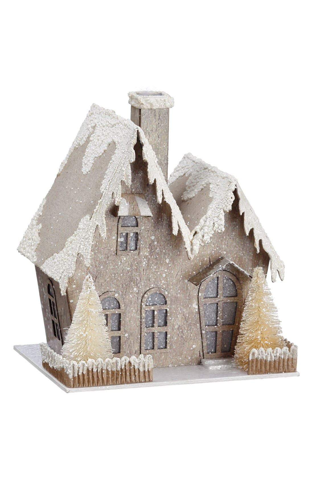 Light-Up Snow House,                         Main,                         color, White/ Brown