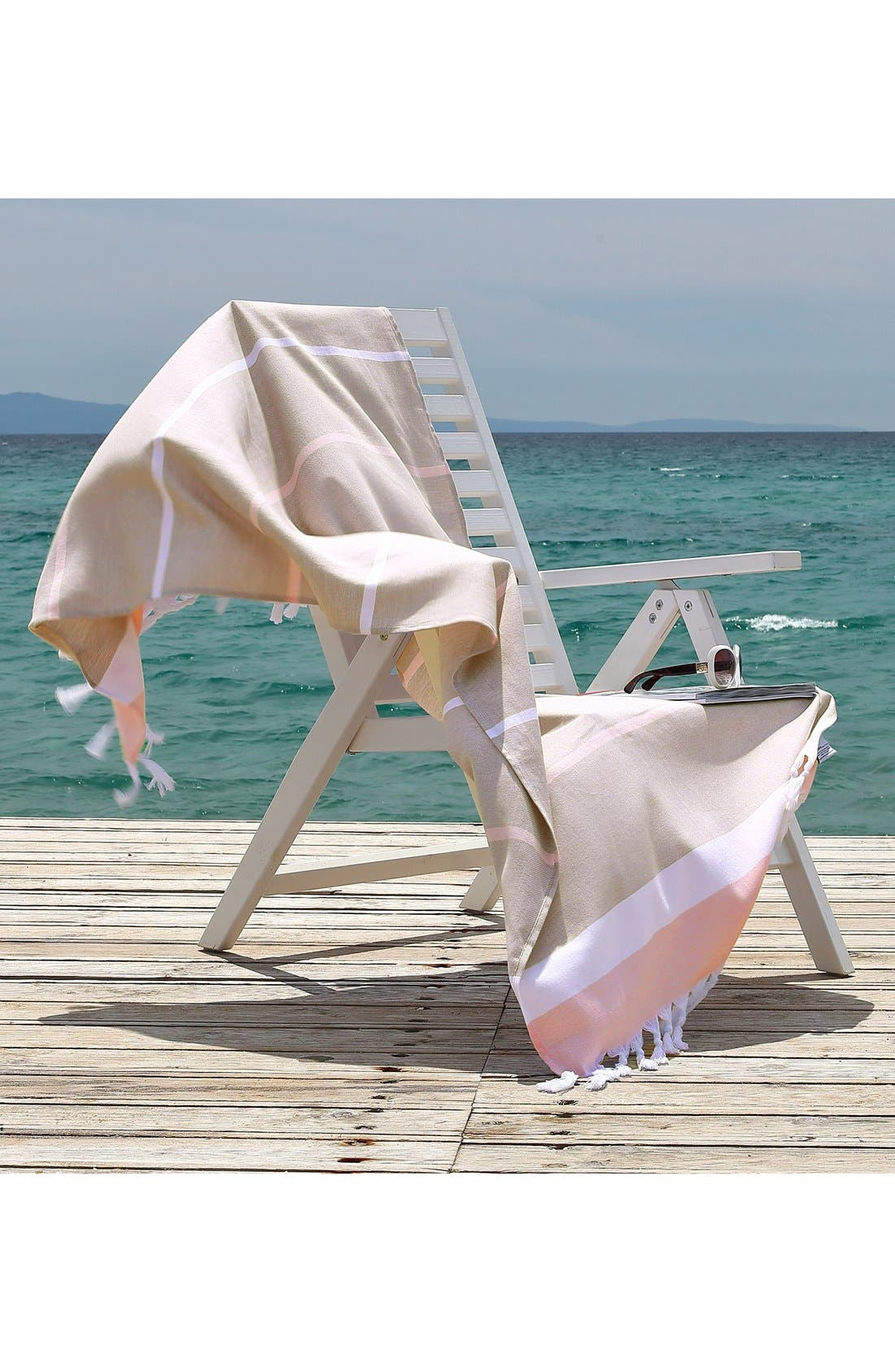'Seaside Fun' Turkish Pestemal Towel,                             Alternate thumbnail 3, color,                             Cafe Latte