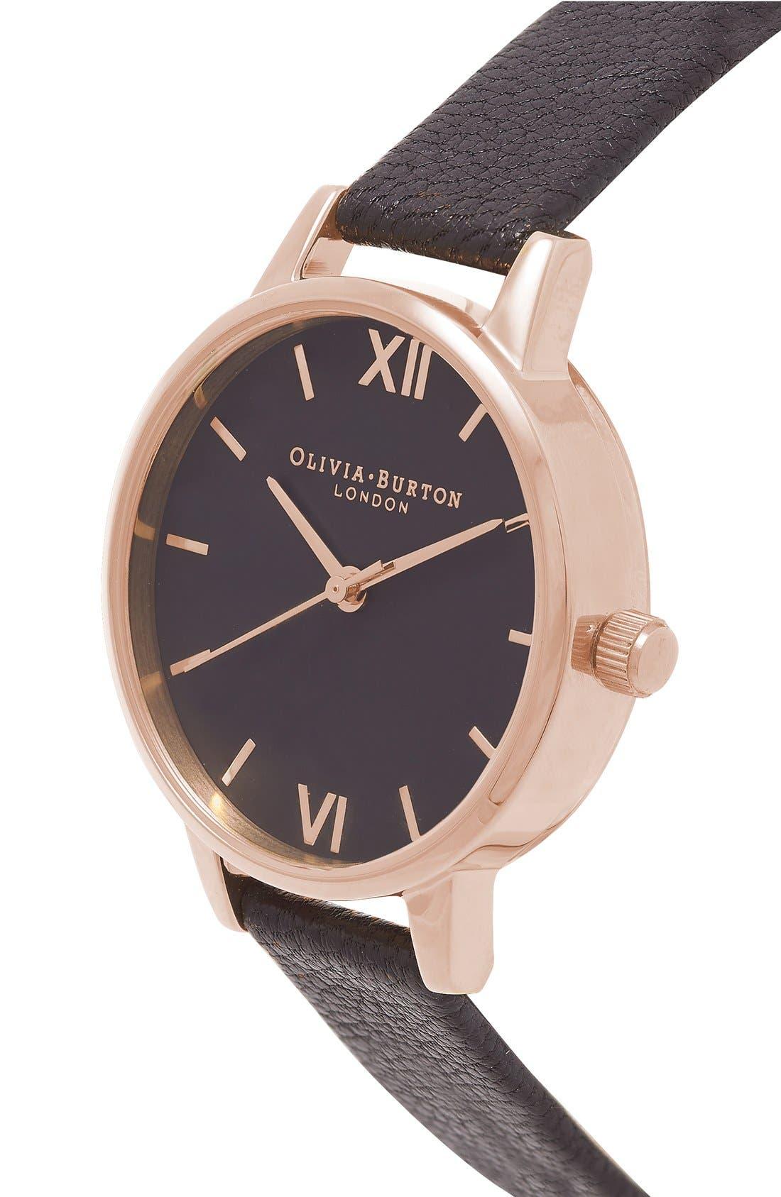 Alternate Image 2  - Olivia Burton 'Midi Dial' Leather Strap Watch, 30mm