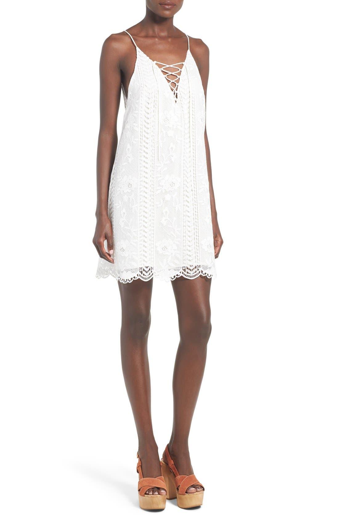 Alternate Image 1 Selected - ASTR Lace-Up Shift Dress