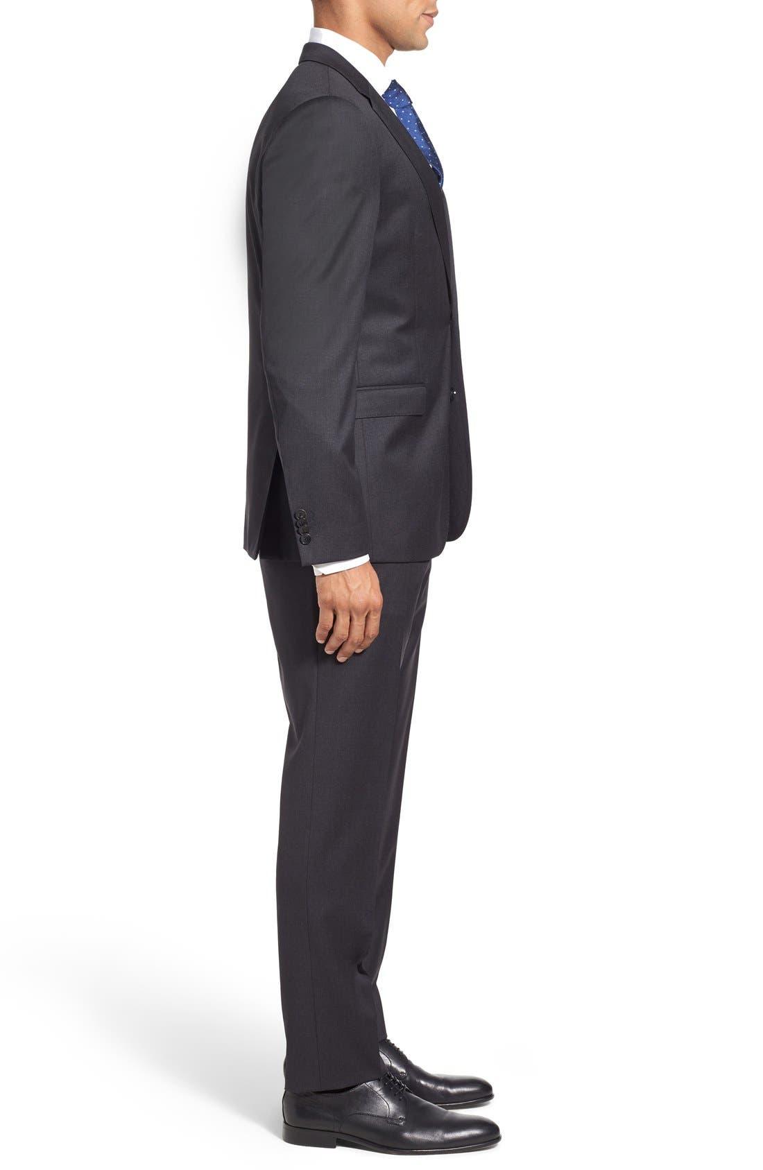 'Ryan/Win' Extra Trim Fit Solid Wool Suit,                             Alternate thumbnail 3, color,                             Dark Grey