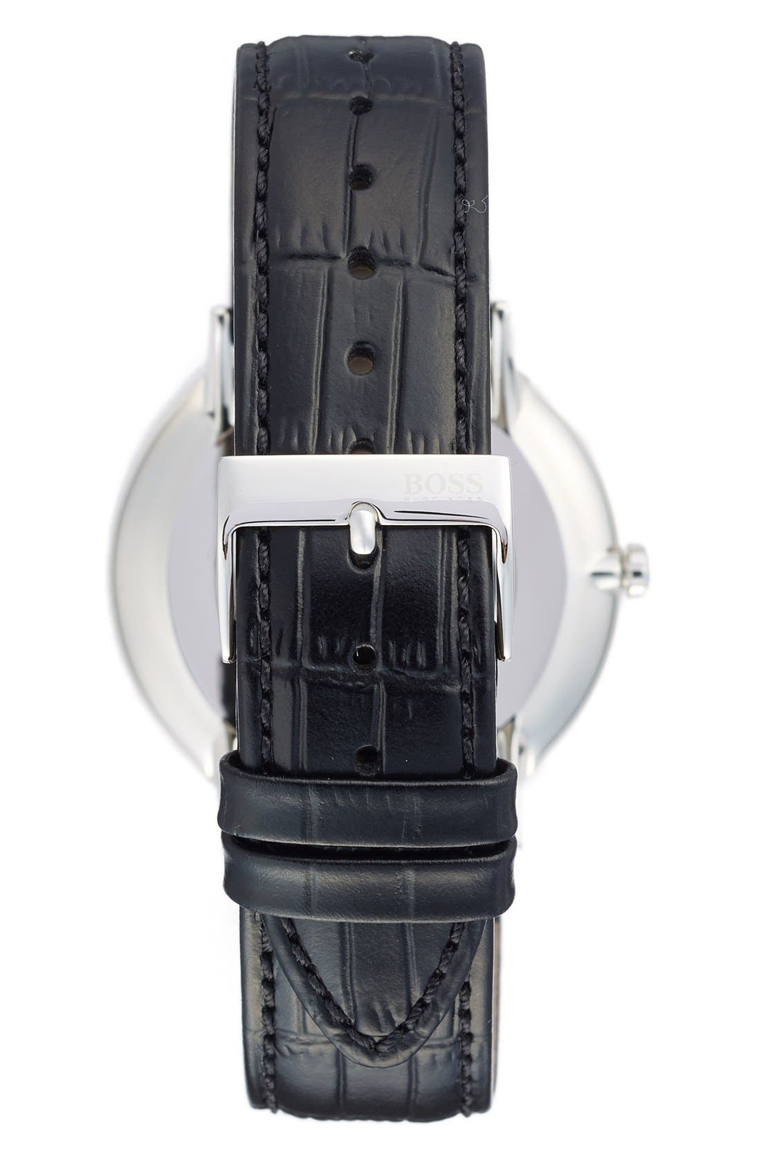 Ultra Slim Leather Strap Watch, 40mm,                             Alternate thumbnail 2, color,                             Black/ White