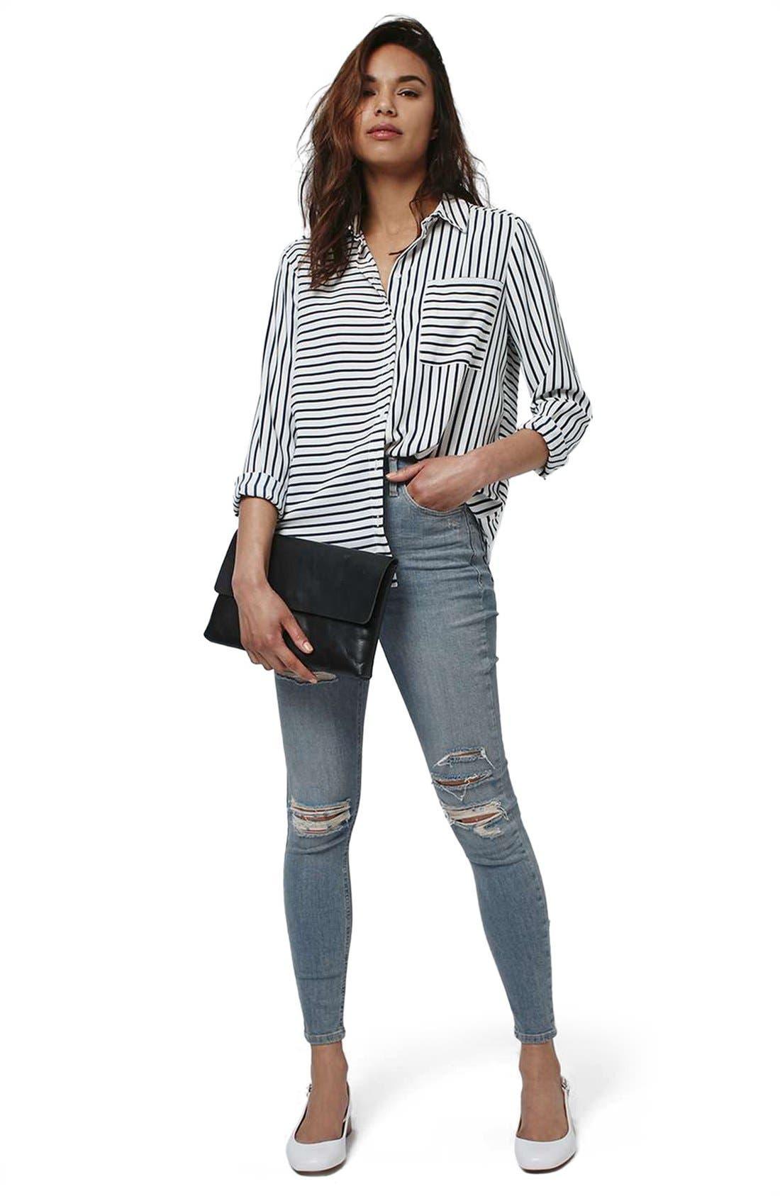 Alternate Image 2  - Topshop 'Jamie' Ripped Bleached Super Skinny Jeans