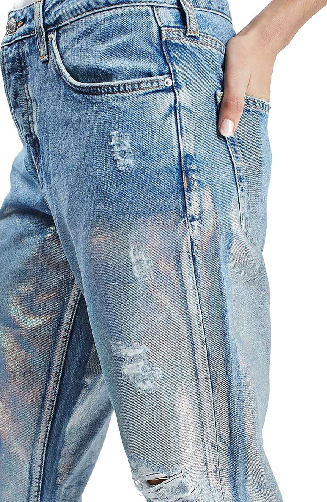 Alternate Image 3  - Topshop 'Hayden' Metallic Distressed Boyfriend Jeans (Regular & Petite)