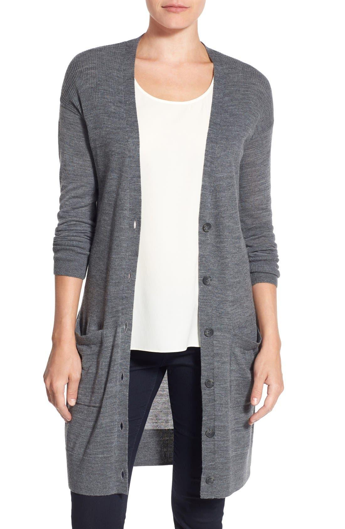 Rib Knit Wool Blend Cardigan,                         Main,                         color, Heather Dark Grey