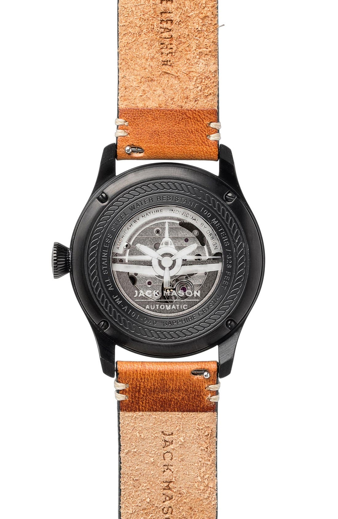 Aviation Automatic Leather Strap Watch, 42mm,                             Alternate thumbnail 2, color,                             Black/ Black/ Tan