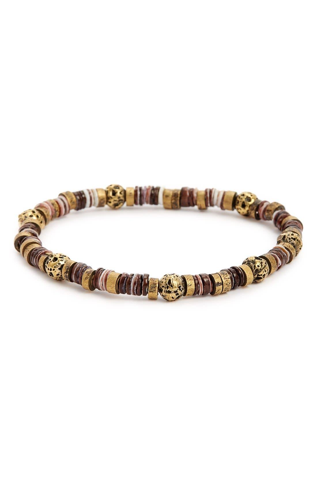 Lava Rock & Brass Bead Bracelet,                         Main,                         color, Brown