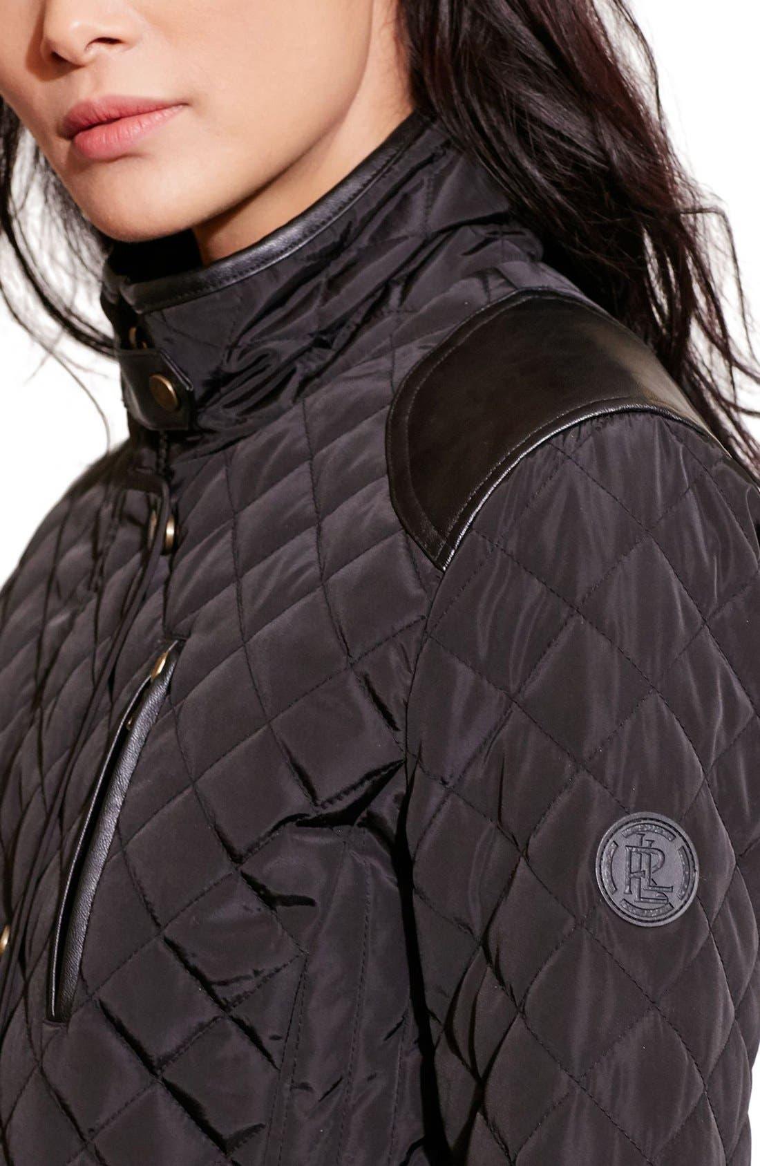 Alternate Image 4  - Lauren Ralph Lauren Diamond Quilted Jacket with Faux Leather Trim (Regular & Petite)