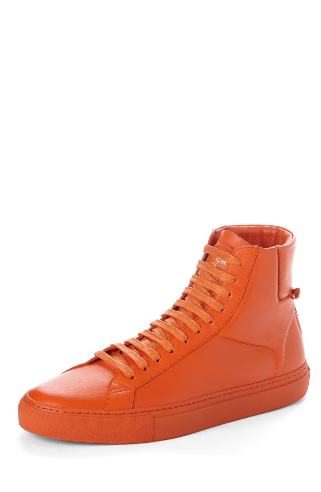 'Urban Knots' High Top Sneaker,                             Main thumbnail 1, color,                             Orange Leather