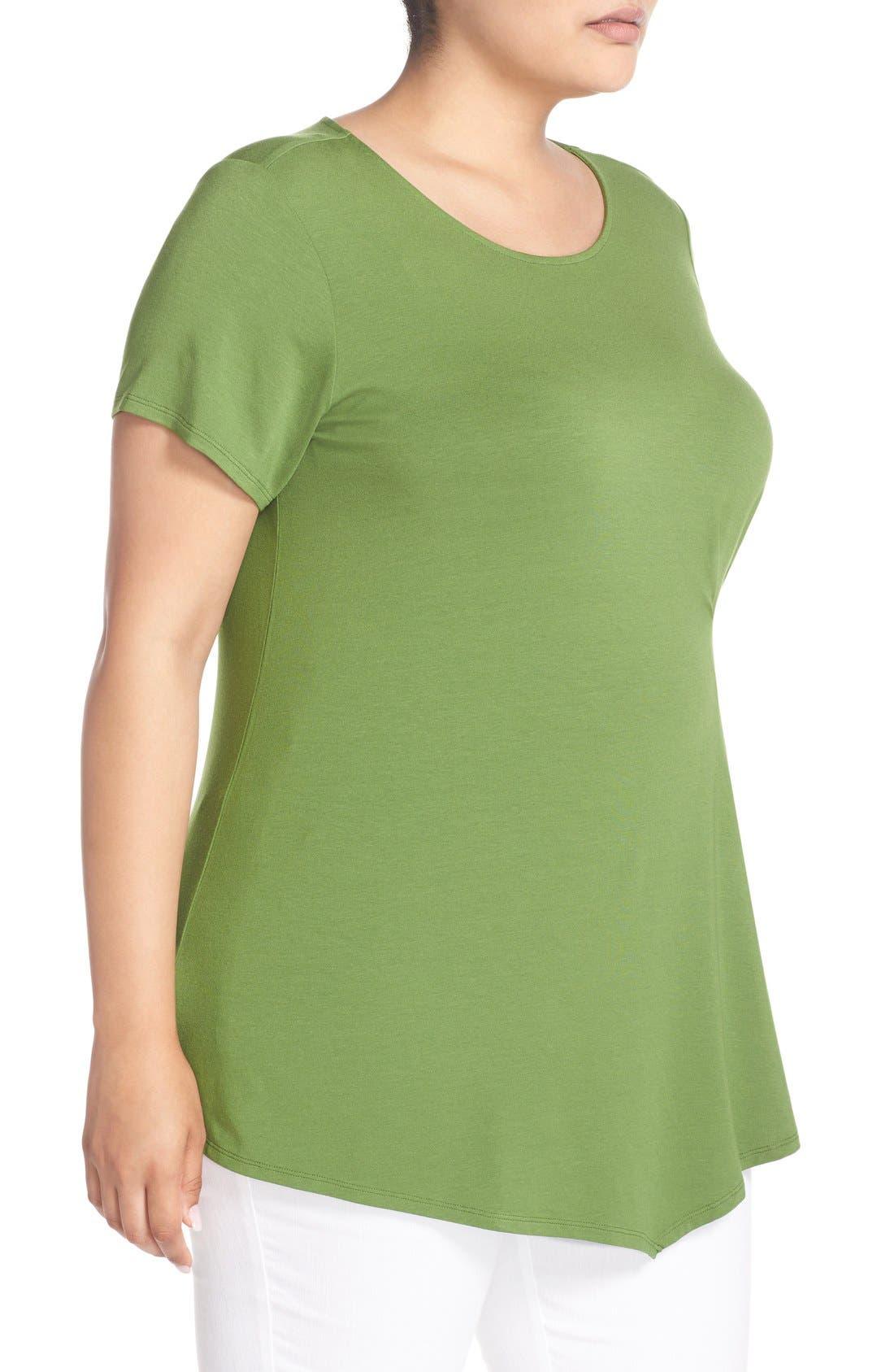 Alternate Image 3  - Vince Camuto Short Sleeve Side Pleat Asymmetrical Top (Plus Size)