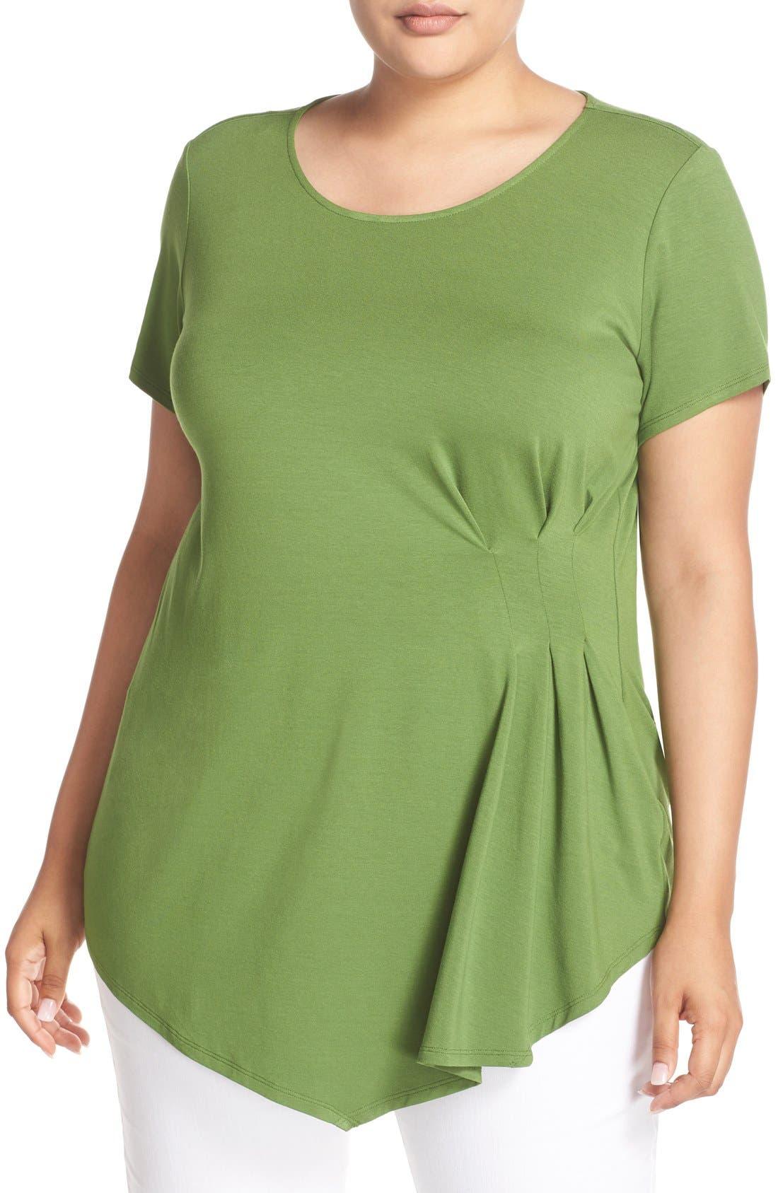 Main Image - Vince Camuto Short Sleeve Side Pleat Asymmetrical Top (Plus Size)