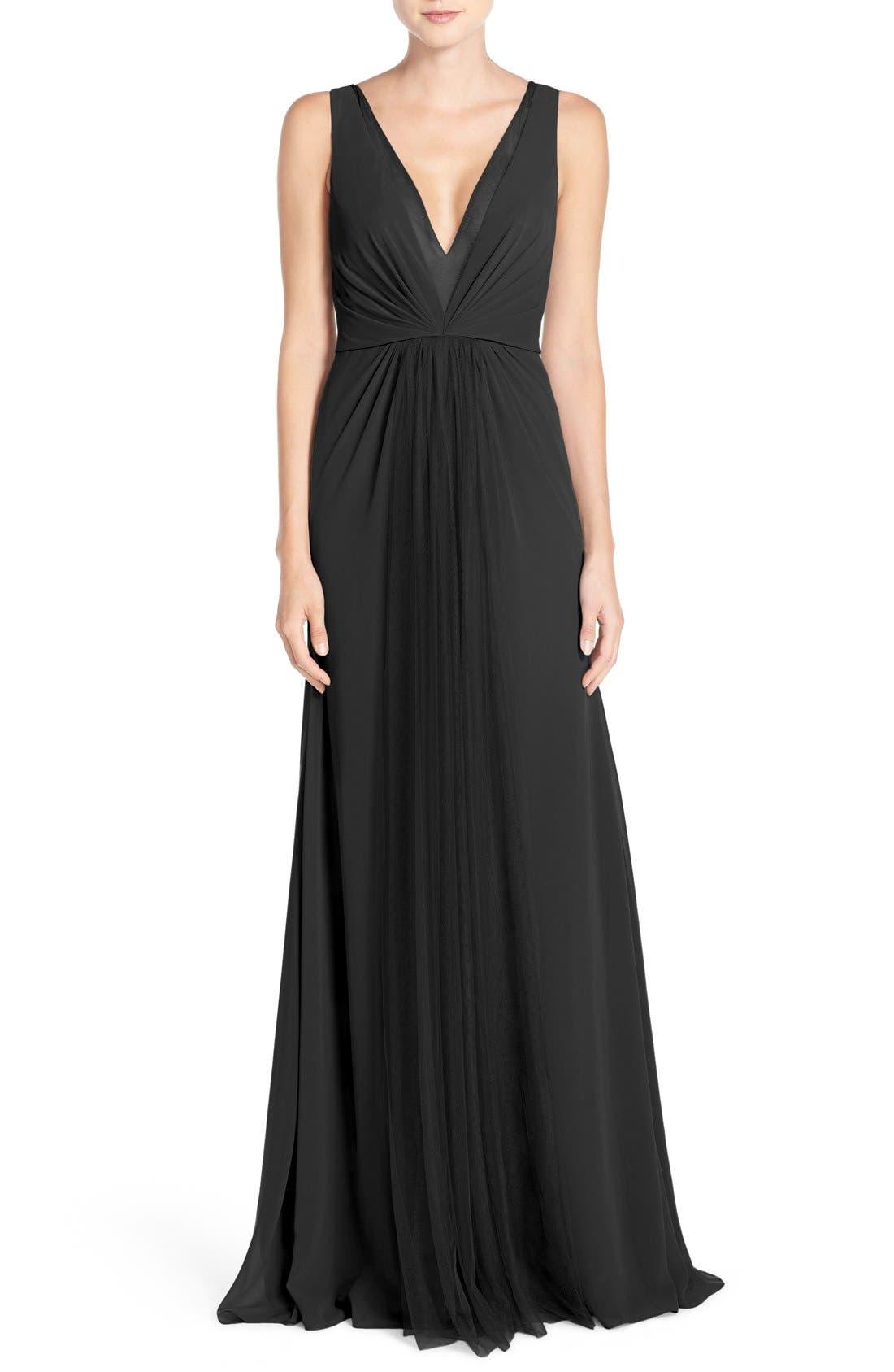 Main Image - Monique Lhuillier Bridesmaids Deep V-Neck Chiffon & Tulle Gown