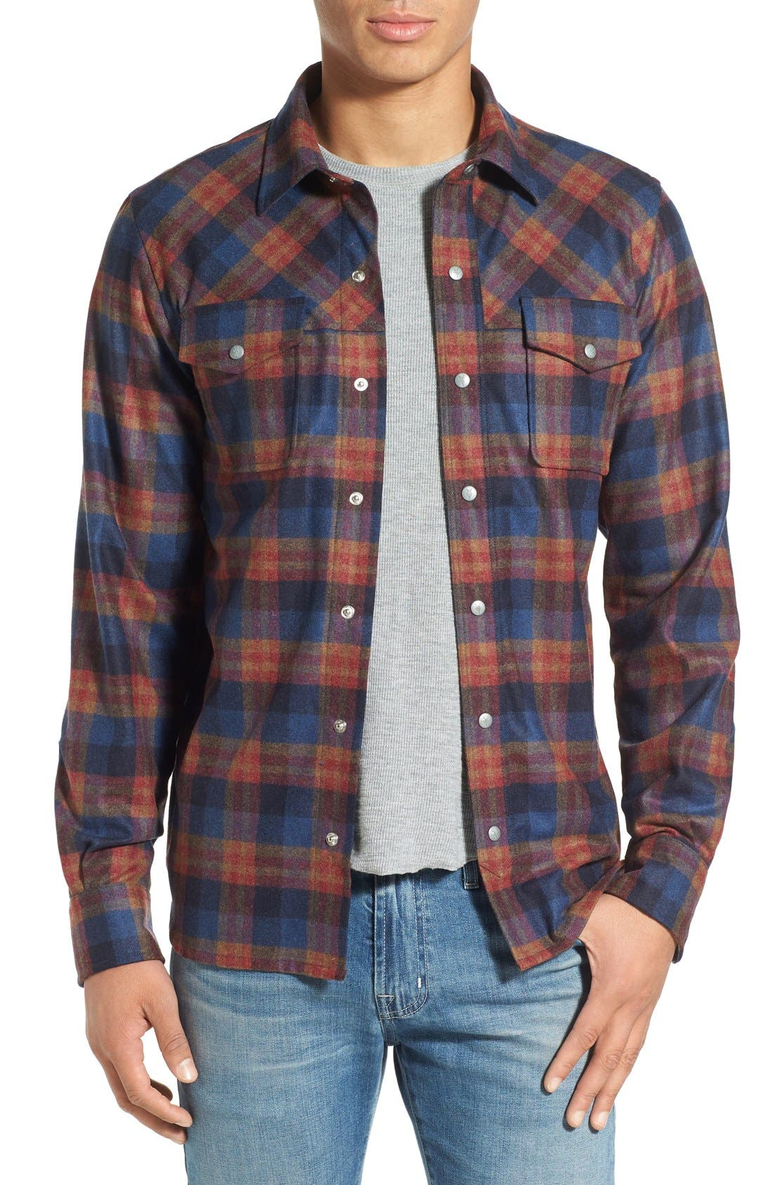 ibex 'Taos' Plaid Wool Blend Sport Shirt