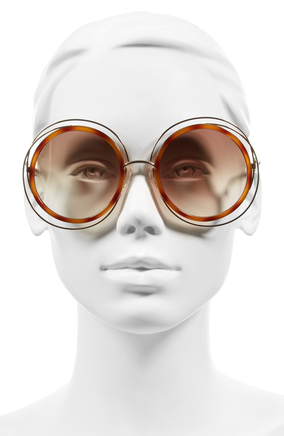 'Carlina' 58mm Round Sunglasses,                             Alternate thumbnail 2, color,                             Gold/ Blonde Havana