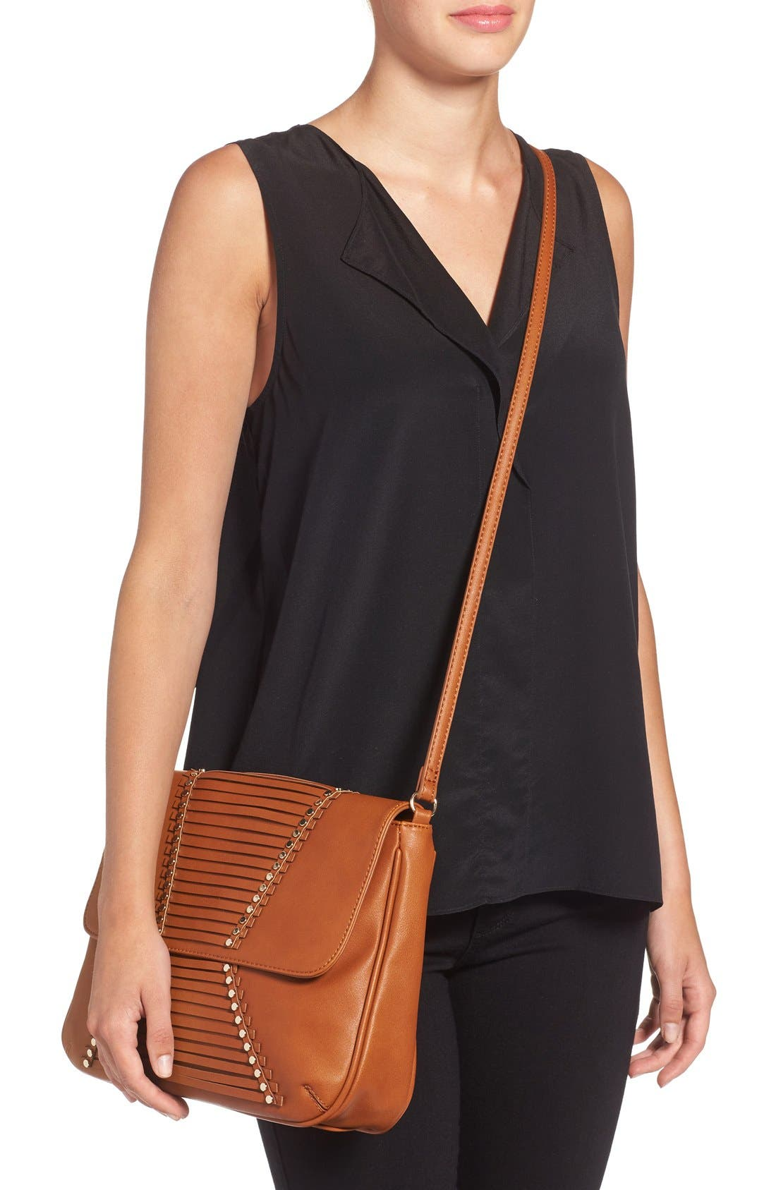 'Larissa' Studded Flap Faux Leather Crossbody Bag,                             Alternate thumbnail 2, color,                             Cognac