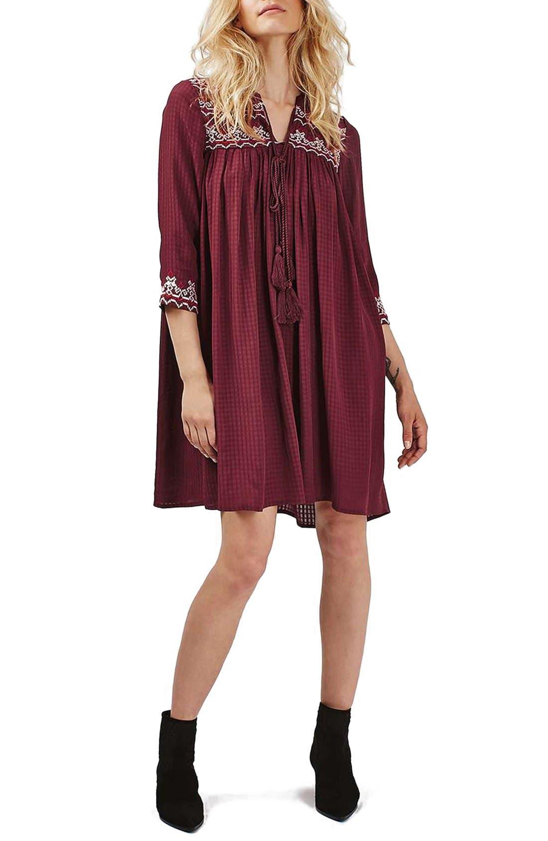 Main Image - Topshop Cross Stitched Peasant Dress