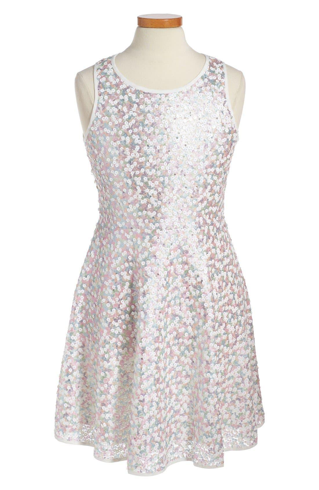 Main Image - Soprano 'Aurora' Sequin Skater Dress (Big Girls)