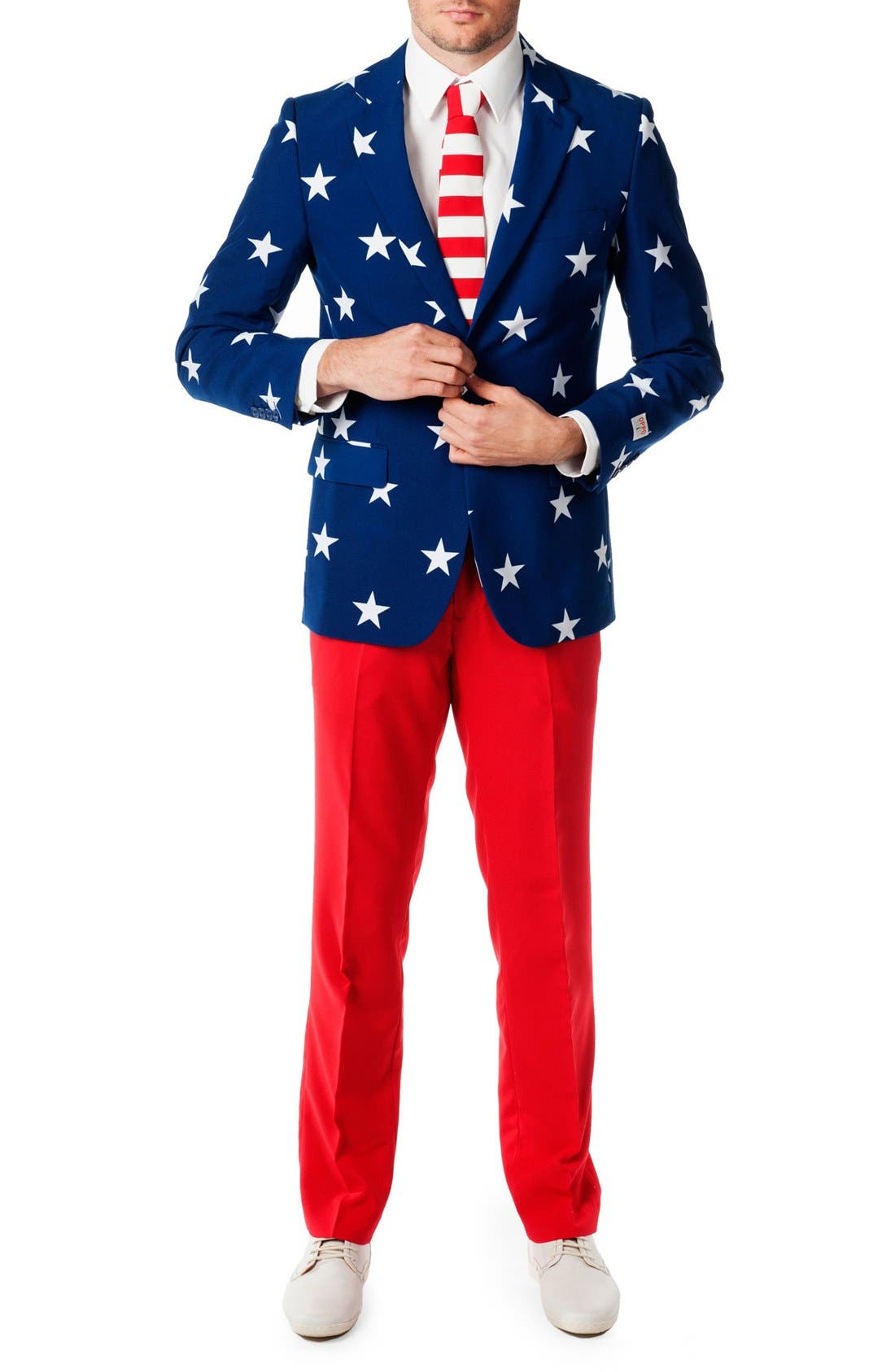 Alternate Image 1 Selected - OppoSuits 'Stars & Stripes' Trim Fit Suit with Tie