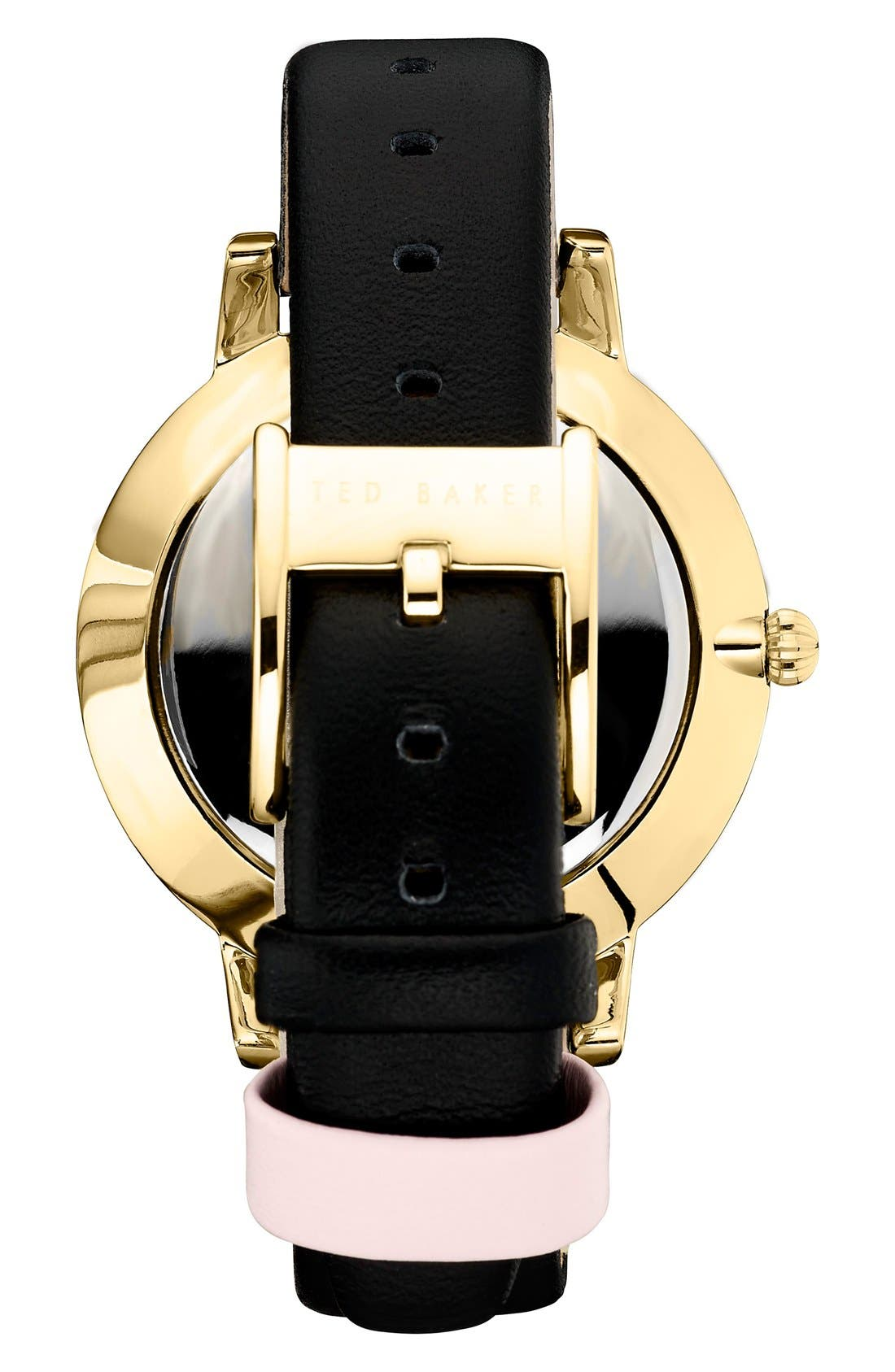 'Dress Sport' Multifunction Leather Strap Watch, 40mm,                             Alternate thumbnail 2, color,                             Black/ Pink