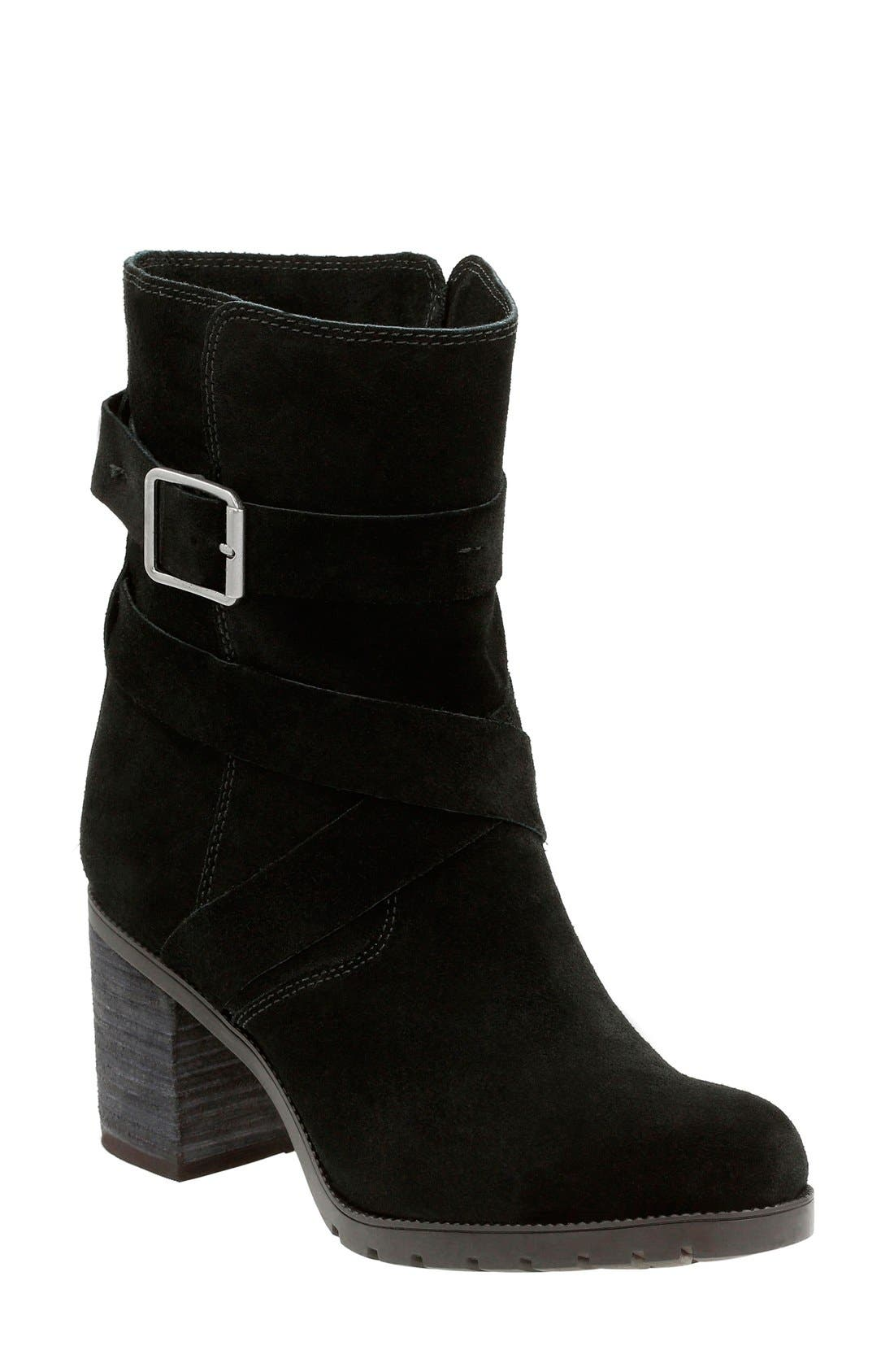 Clarks® 'Malvet Doris' Moto Boot (Women)