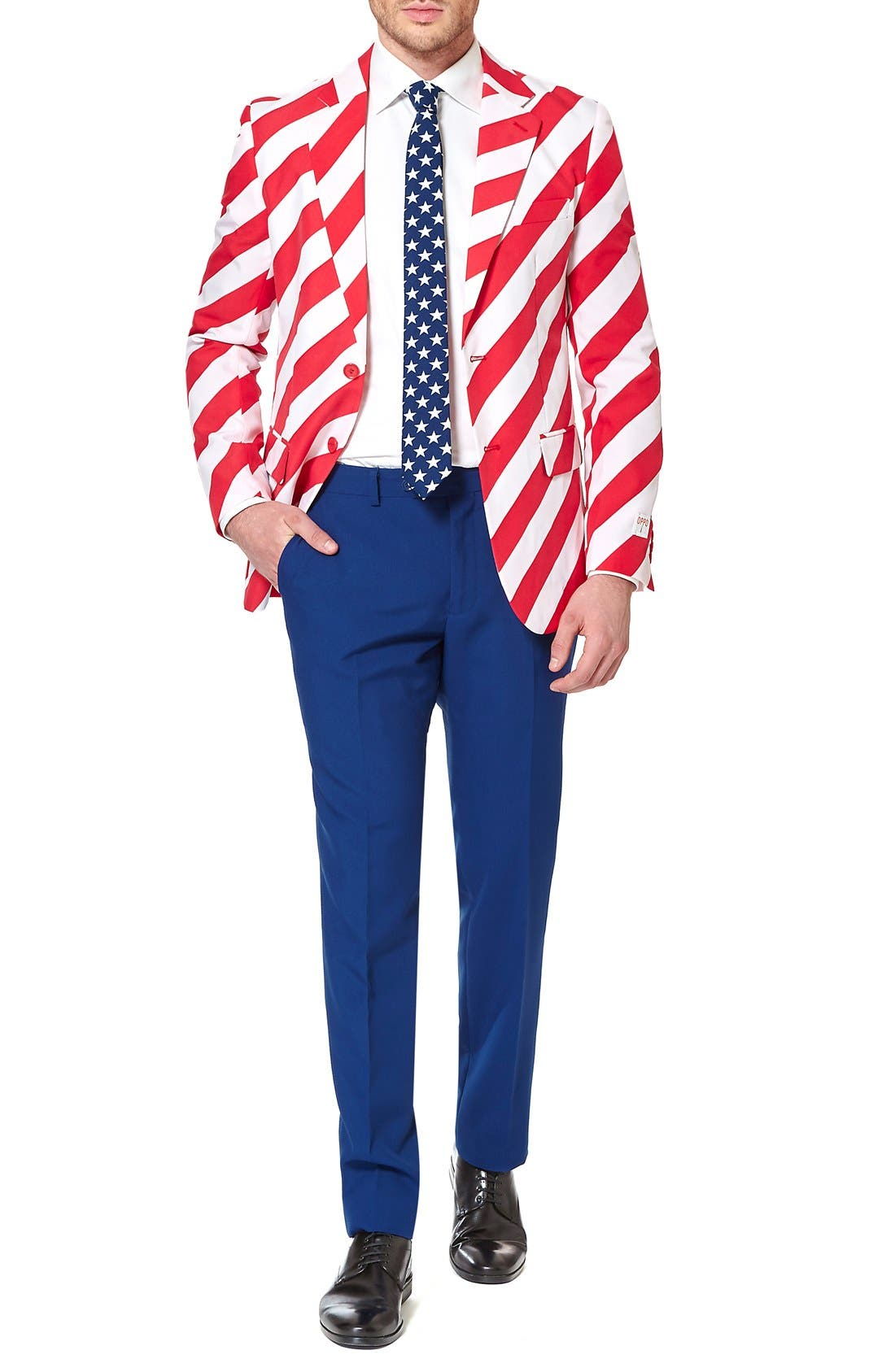 'United Stripes' Trim Fit Suit with Tie,                             Main thumbnail 1, color,                             Red/ Blue/ White