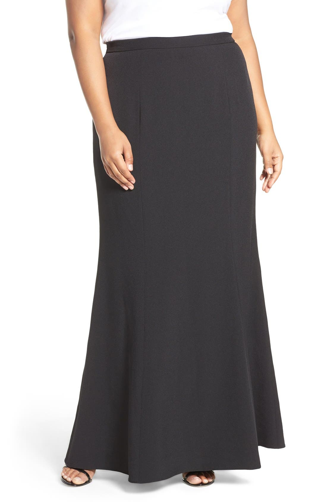 papell stretch crepe maxi skirt plus size