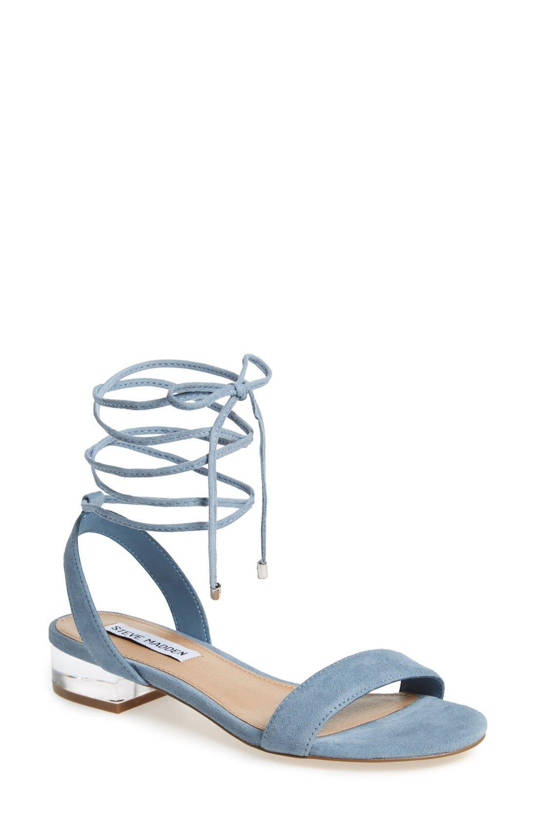 'Carolyn' Lace-Up Sandal,                             Main thumbnail 1, color,                             Blue Suede