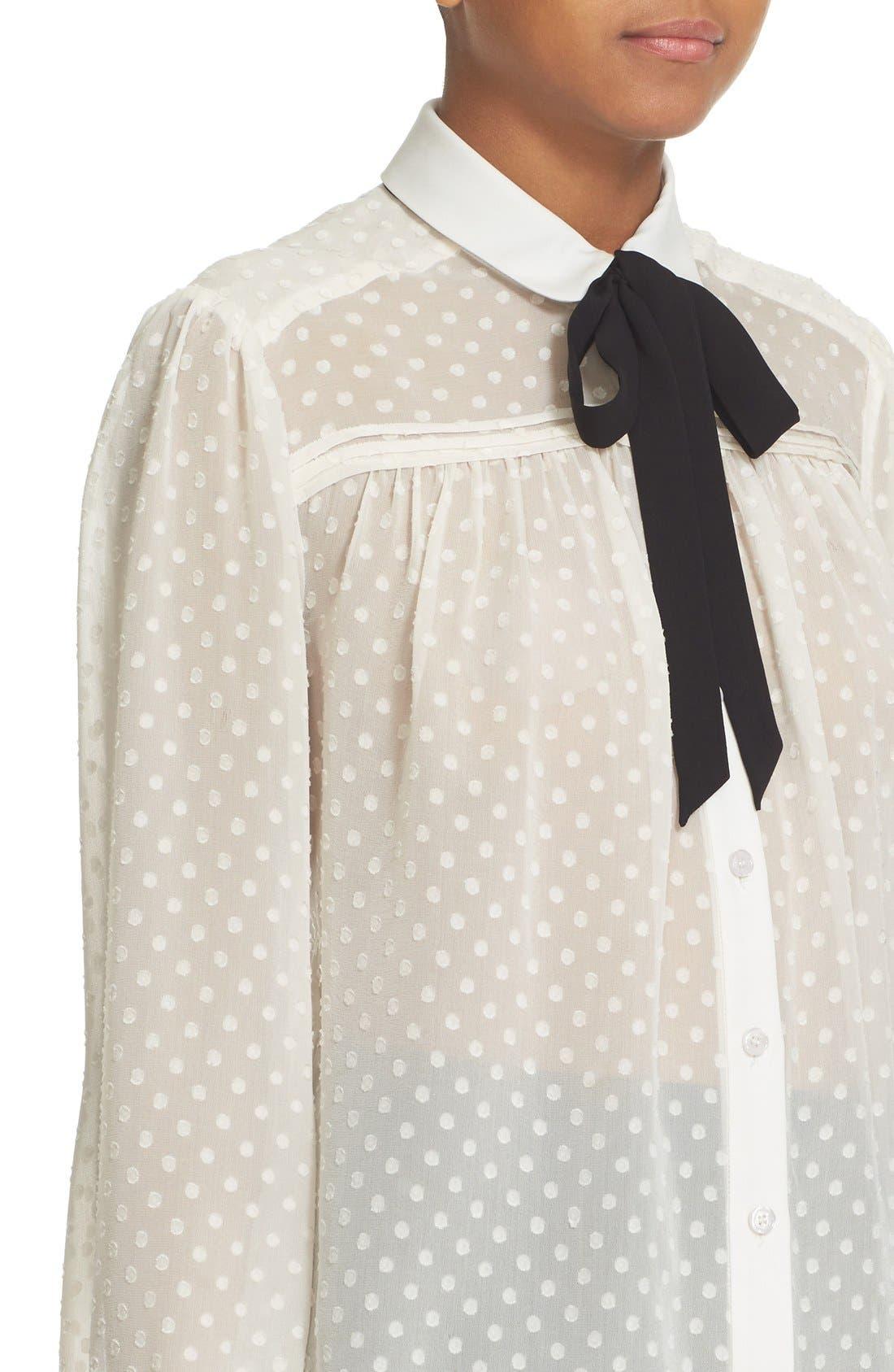 Alternate Image 5  - kate spade new york clipped chiffon bow blouse