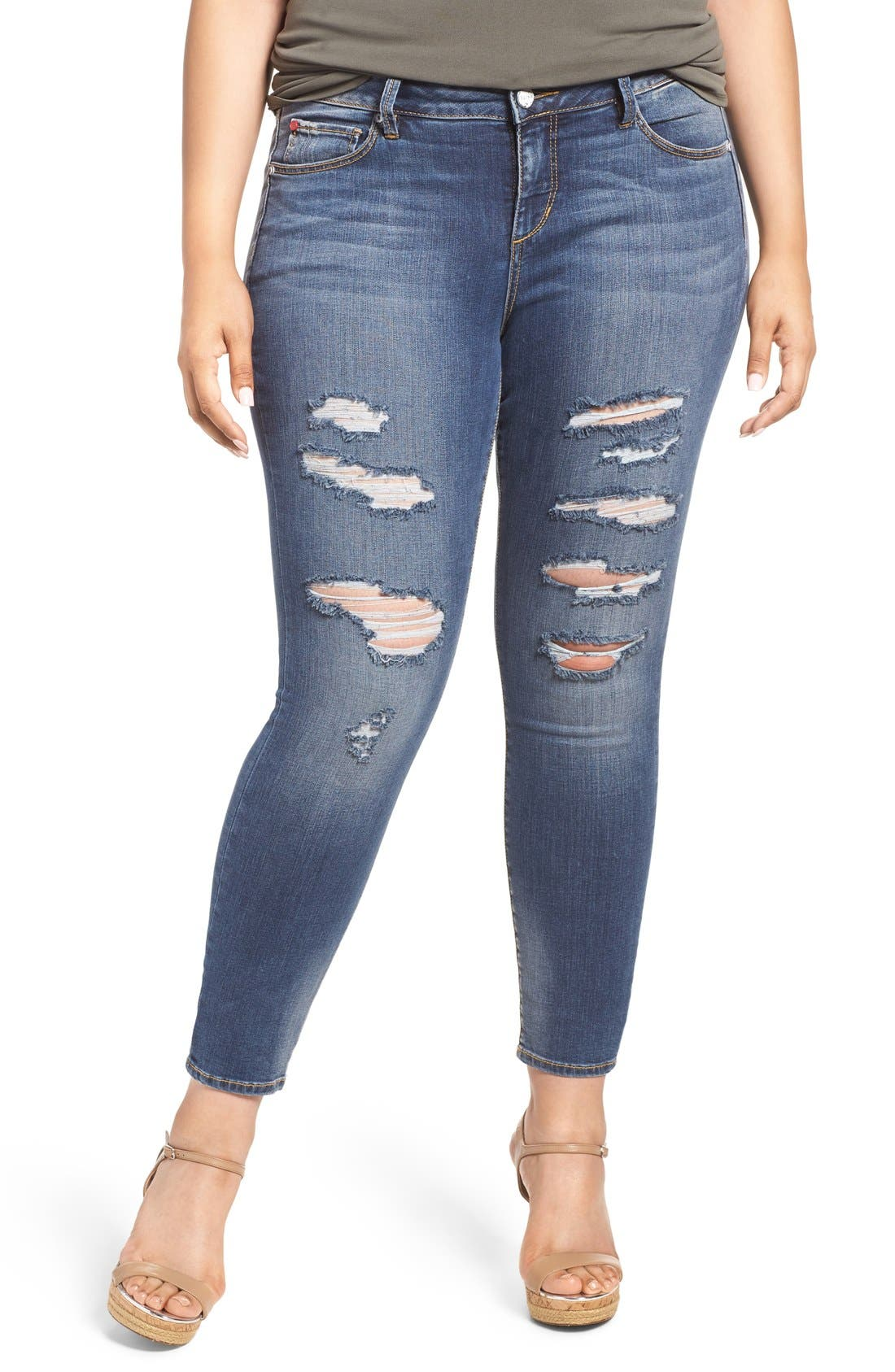 Main Image - SLINK Jeans Ripped Stretch Ankle Skinny Jeans (Danika) (Plus Size)