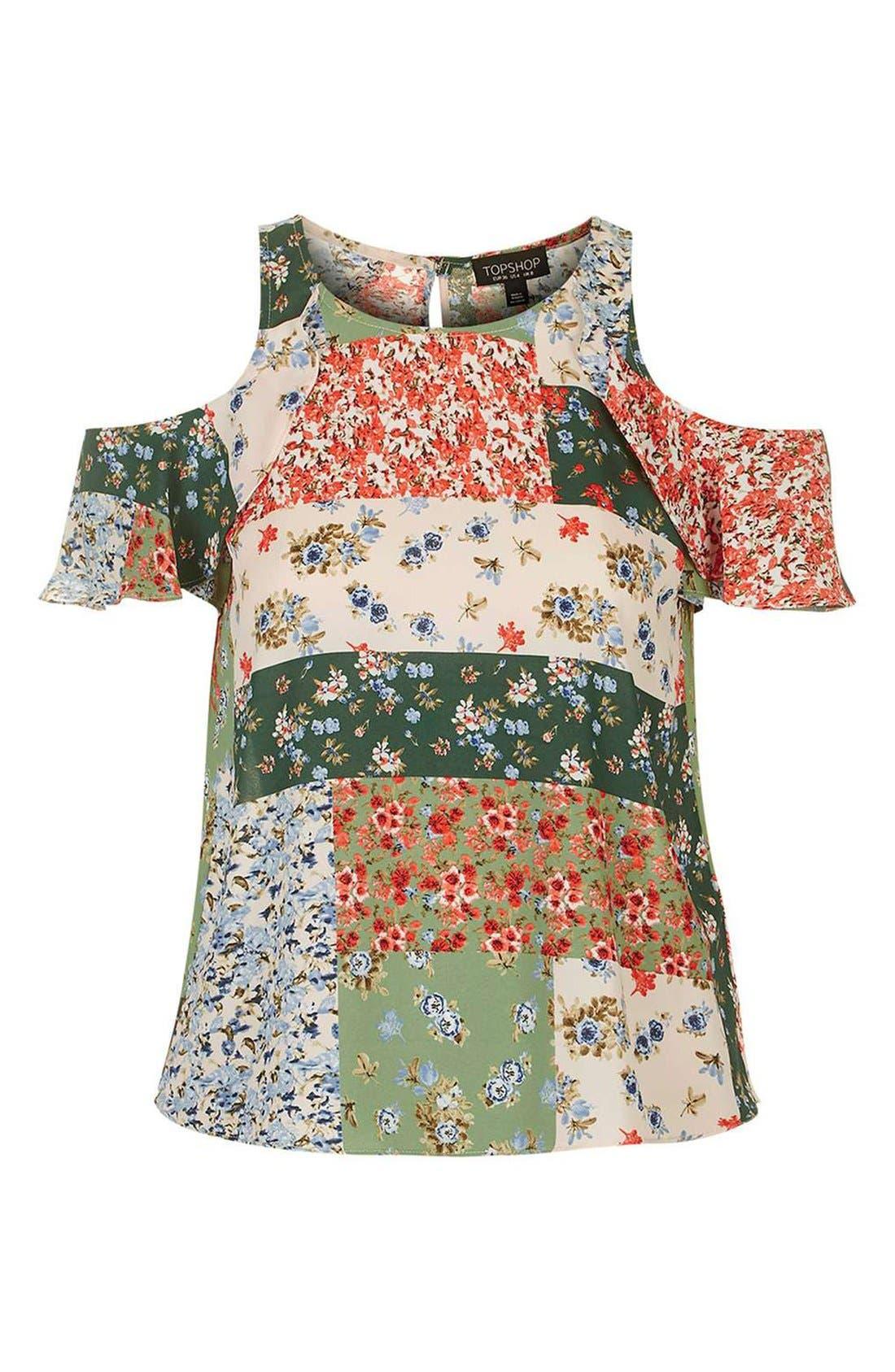 Alternate Image 4  - Topshop Patchwork Floral Ruffle Cold Shoulder Blouse
