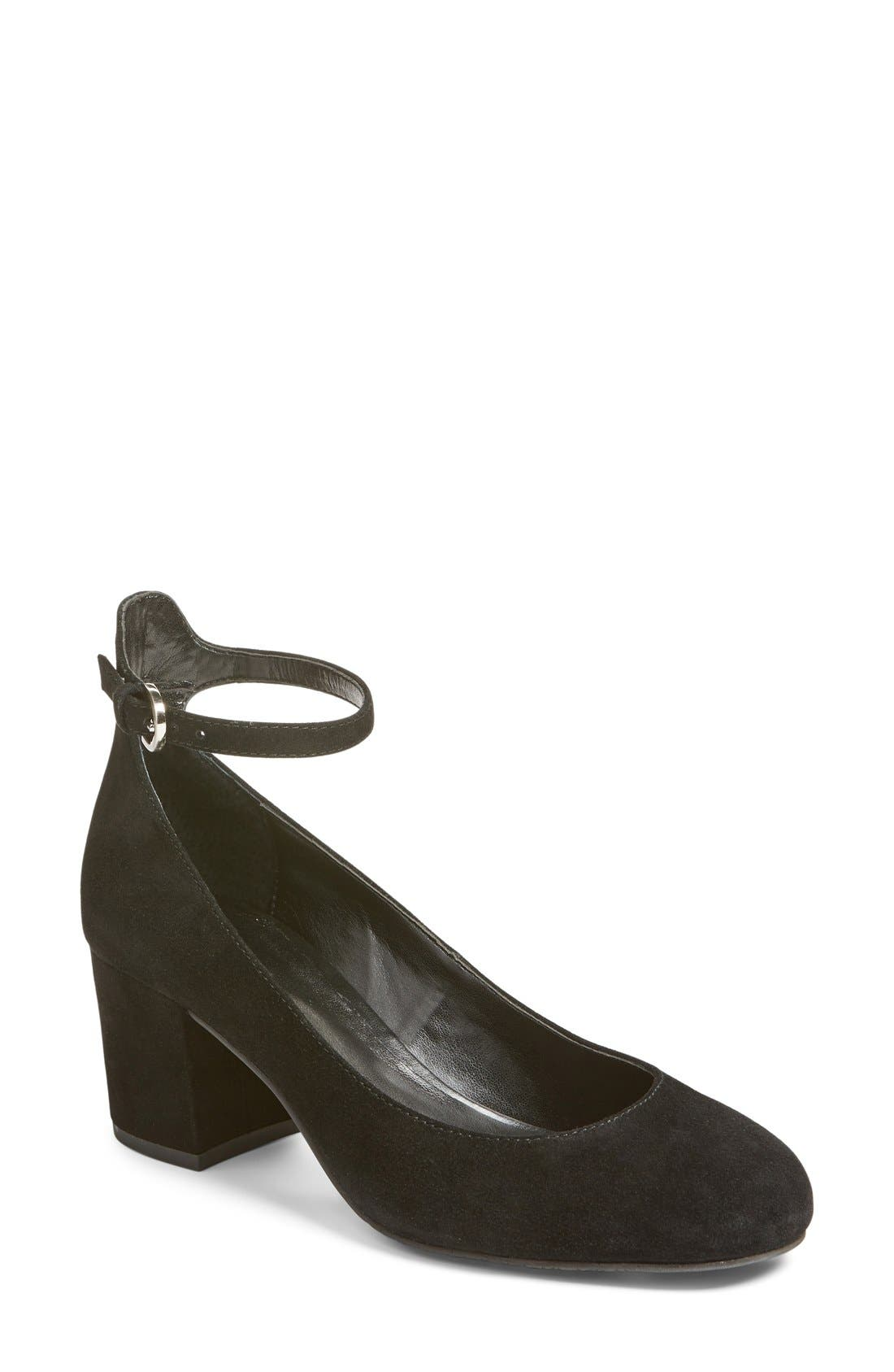 Ankle Strap Block Heel Pump,                             Main thumbnail 1, color,                             Black Suede