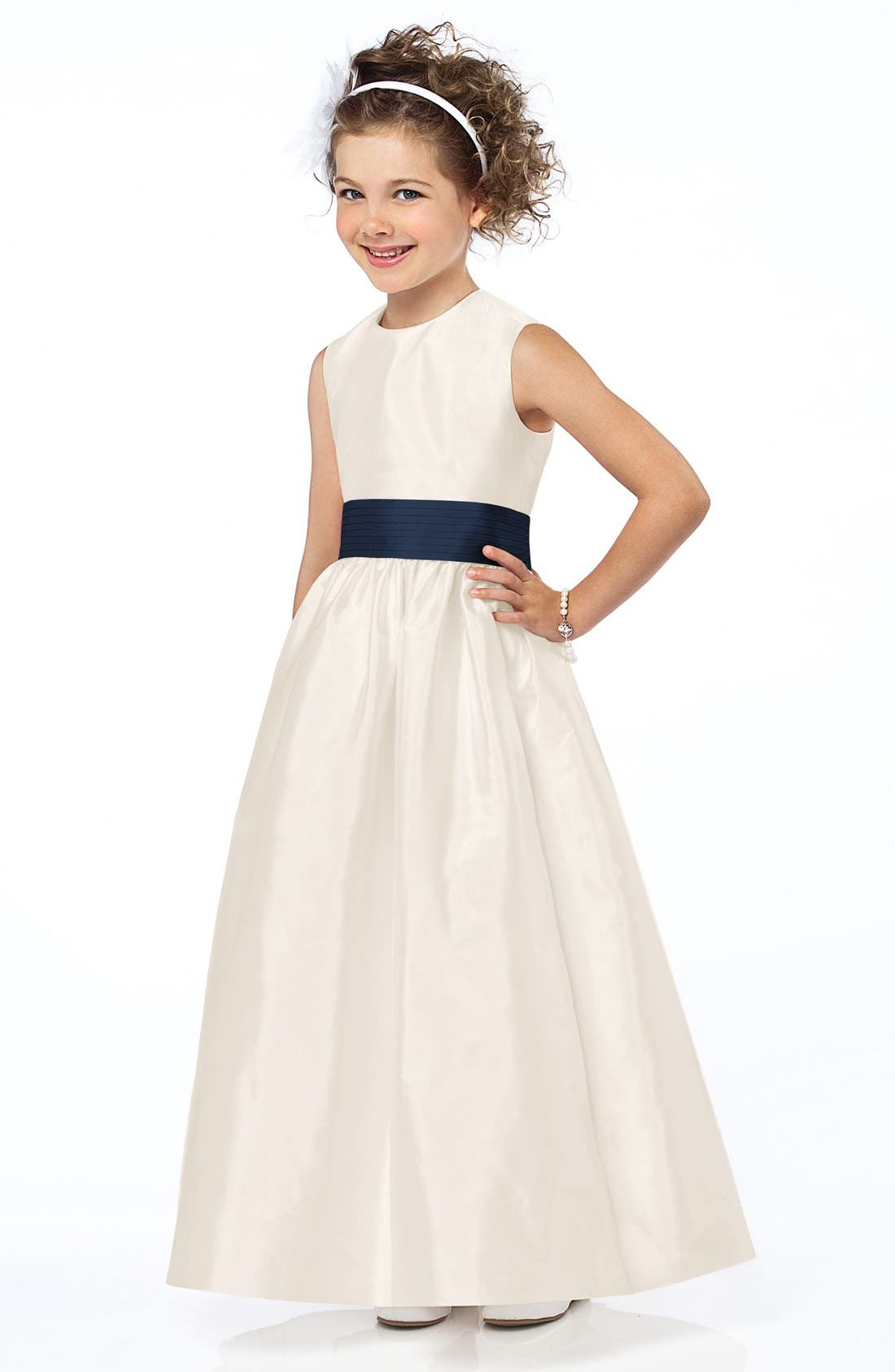 Dessy Collection Sash Detail Sleeveless Dupioni Flower Girl Dress (Toddler, Little Girls & Big Girls)