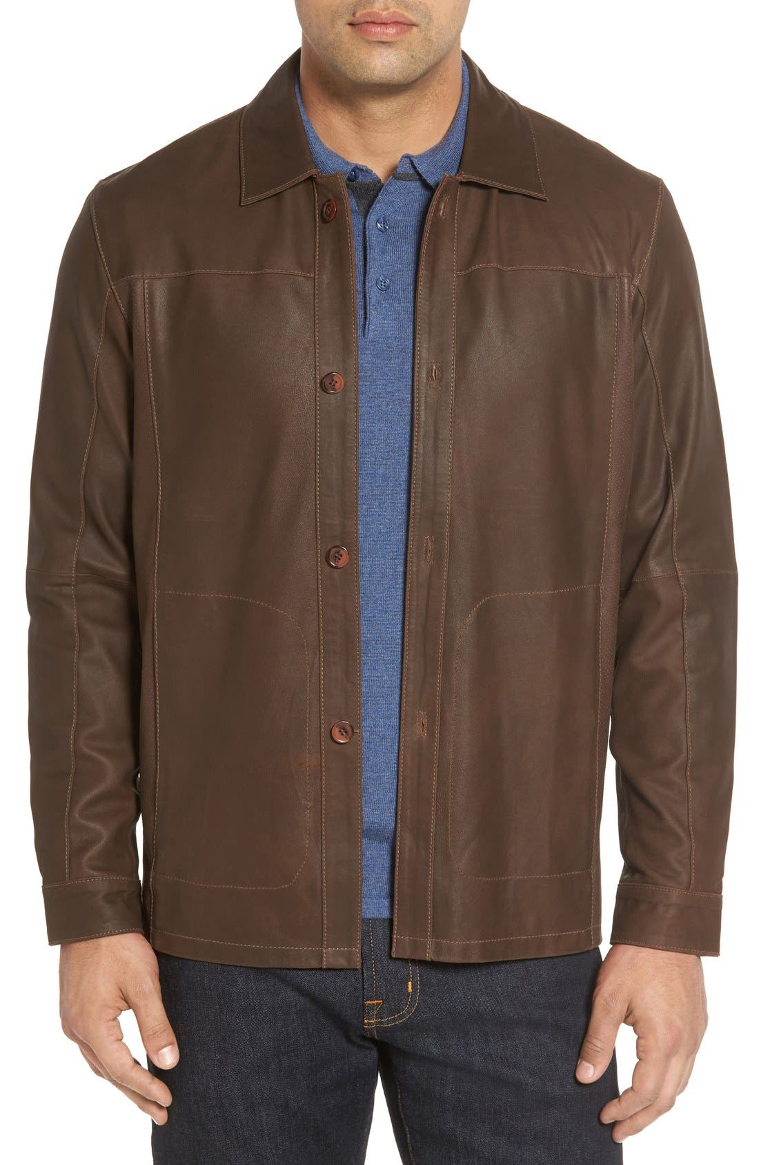 Unlined Leather Jacket,                         Main,                         color, Brown