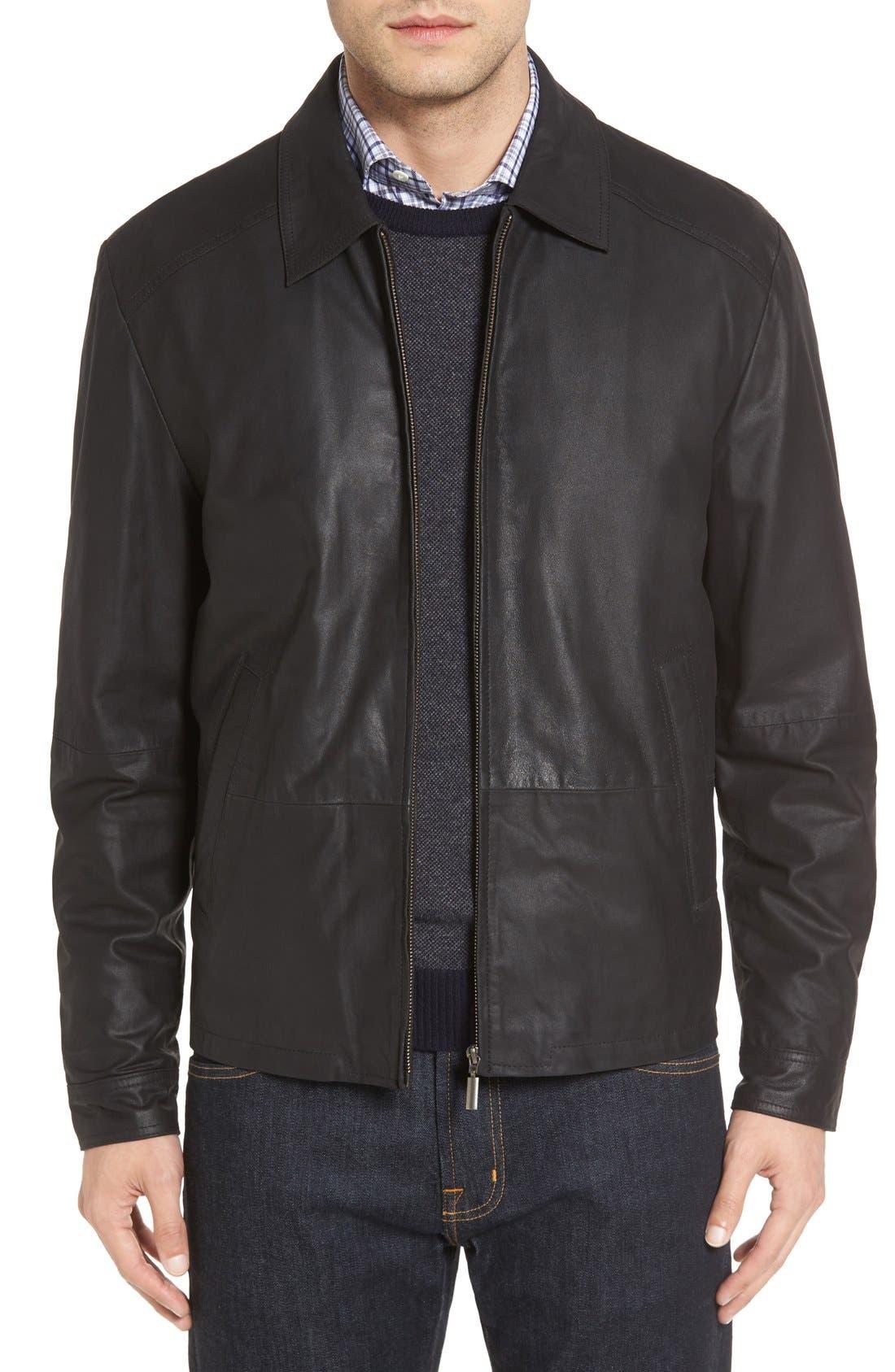 MissaniLe CollezioniLambskin Leather Jacket,                             Main thumbnail 1, color,                             Black