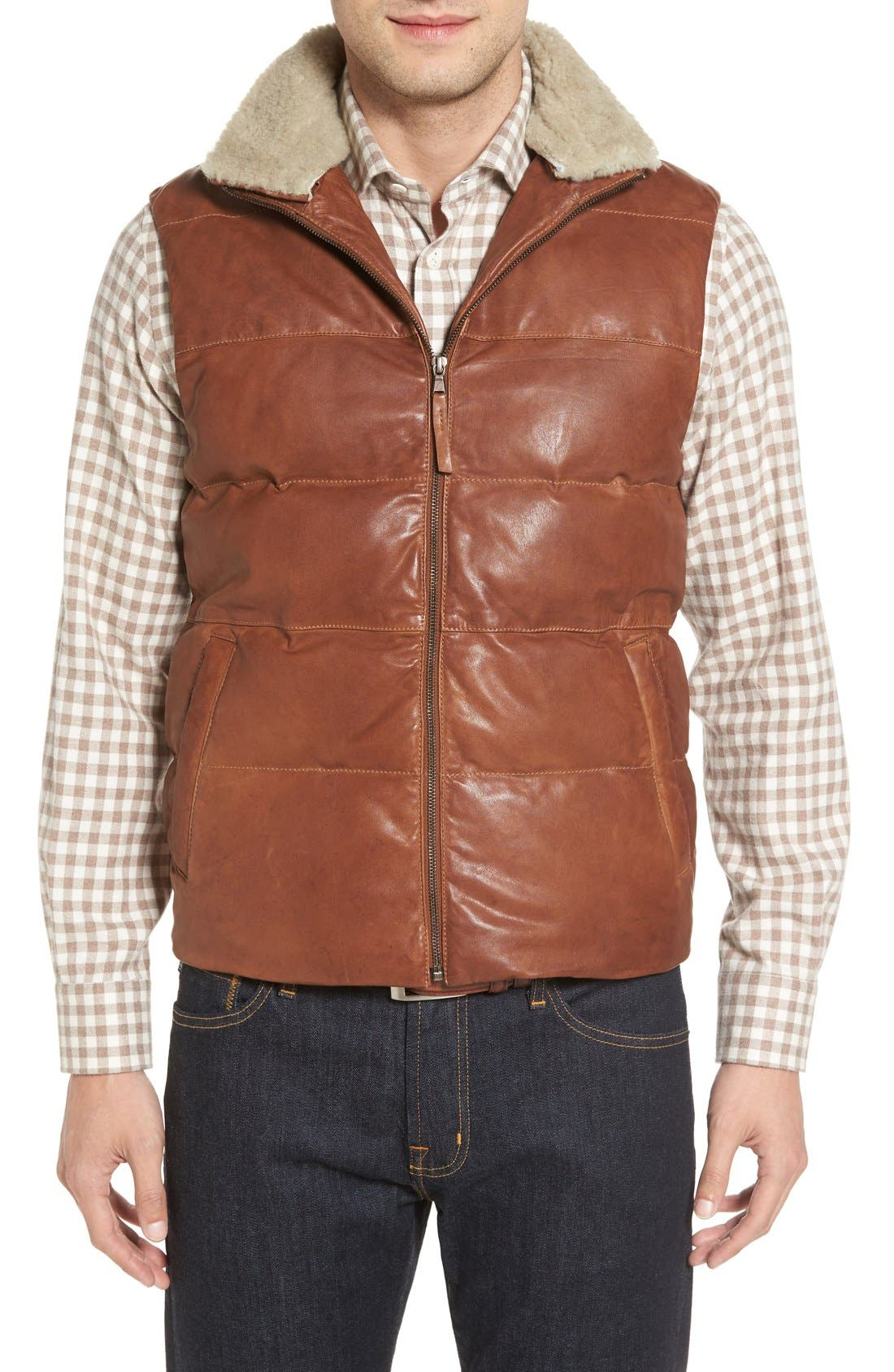 Quilted Leather Vest with Removable Genuine Shearling Collar,                         Main,                         color, Cognac
