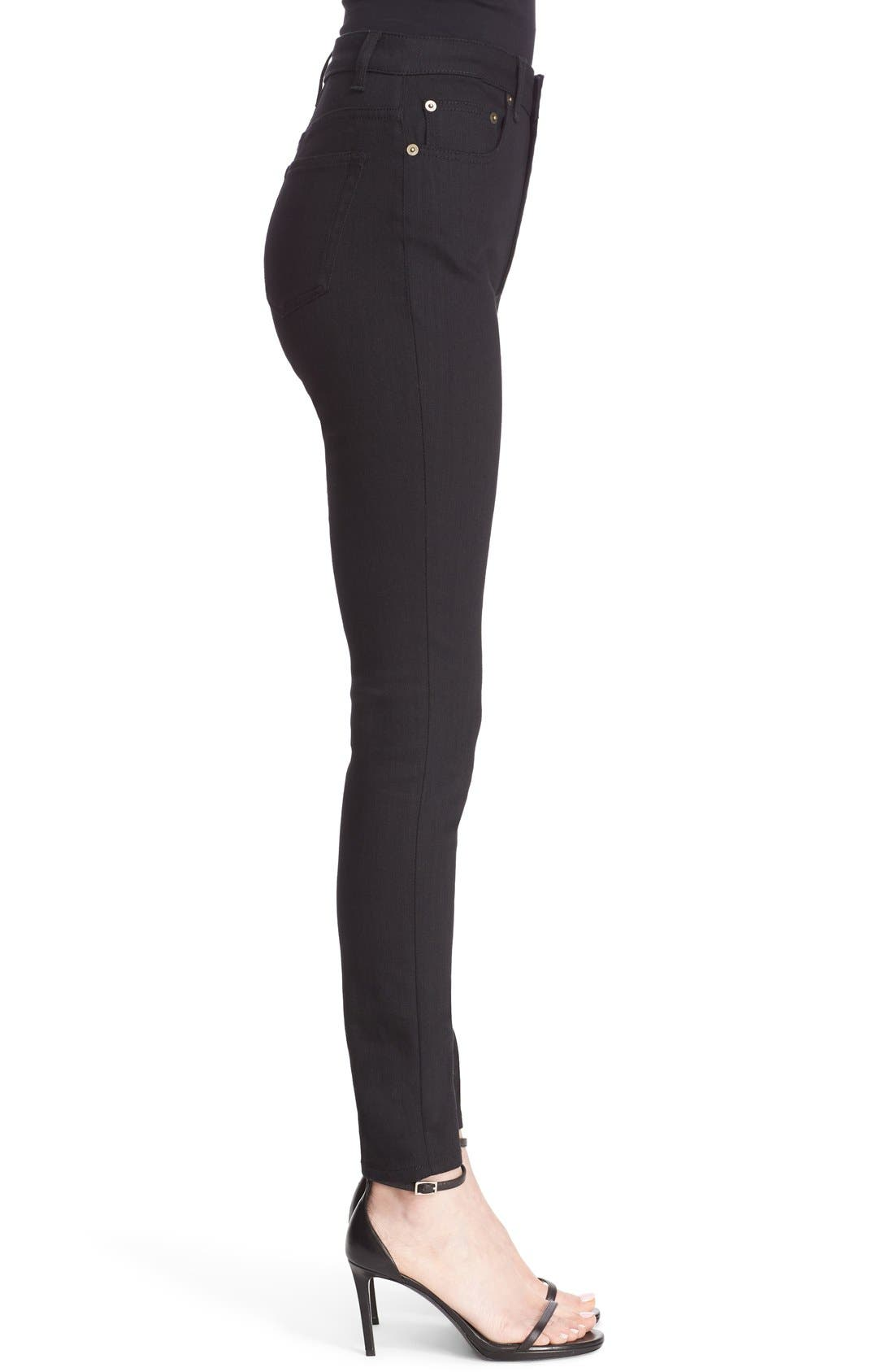 High Rise Skinny Jeans,                             Alternate thumbnail 5, color,                             Black
