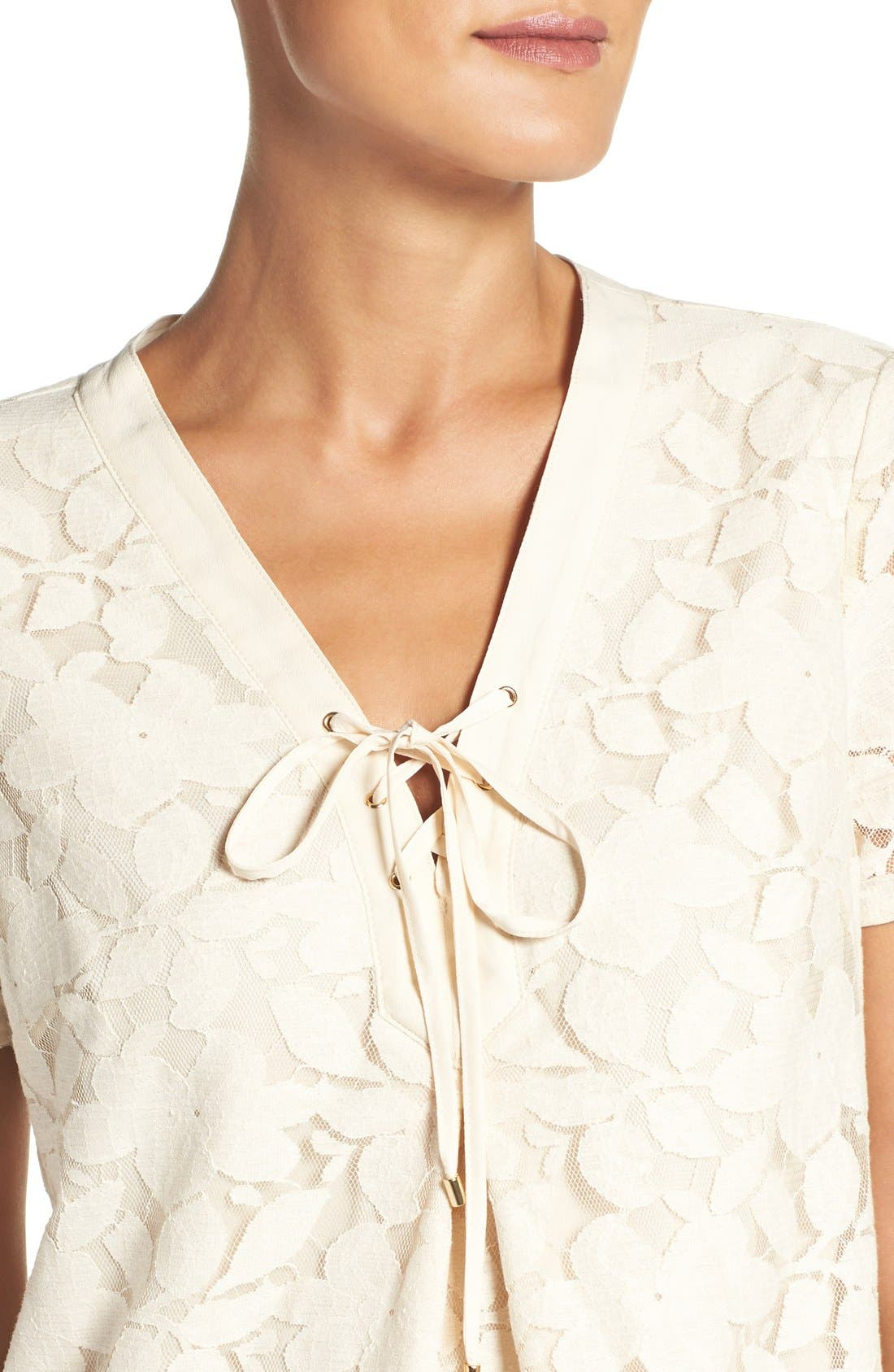 Alternate Image 4  - ECI Floral Lace Shift Dress