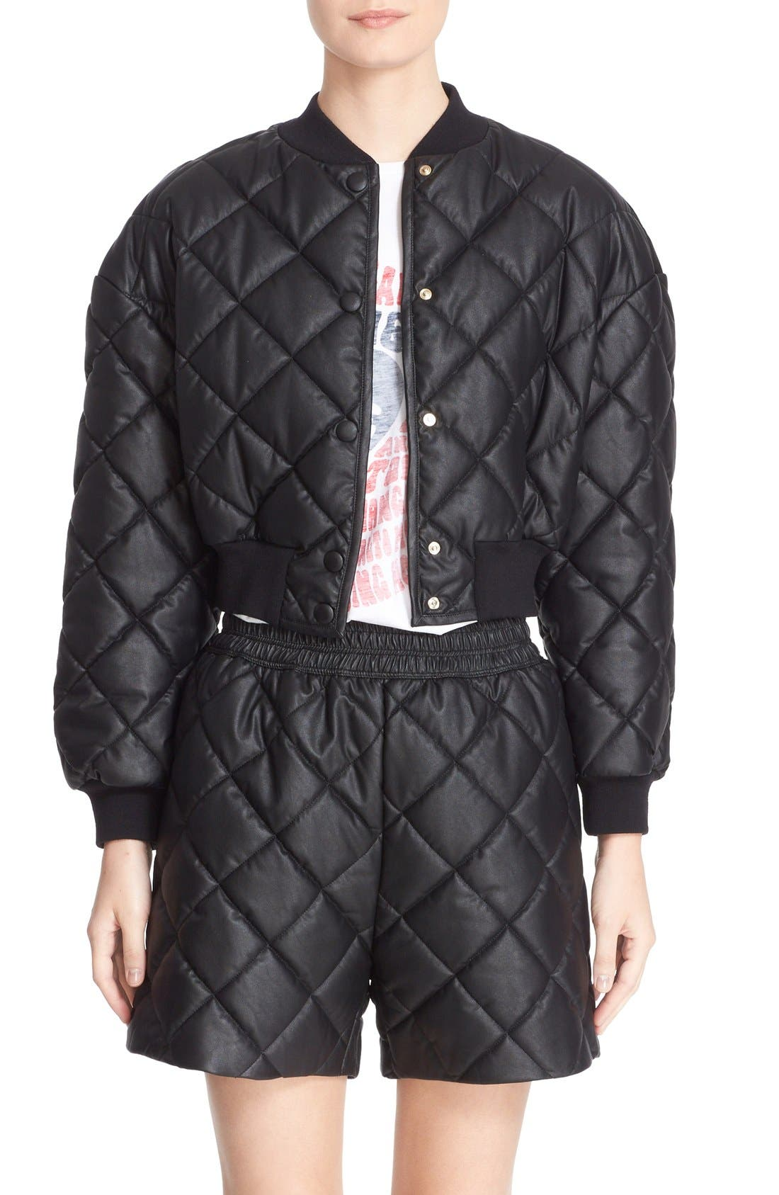 Crop Quilted Puffer Jacket,                         Main,                         color, Black